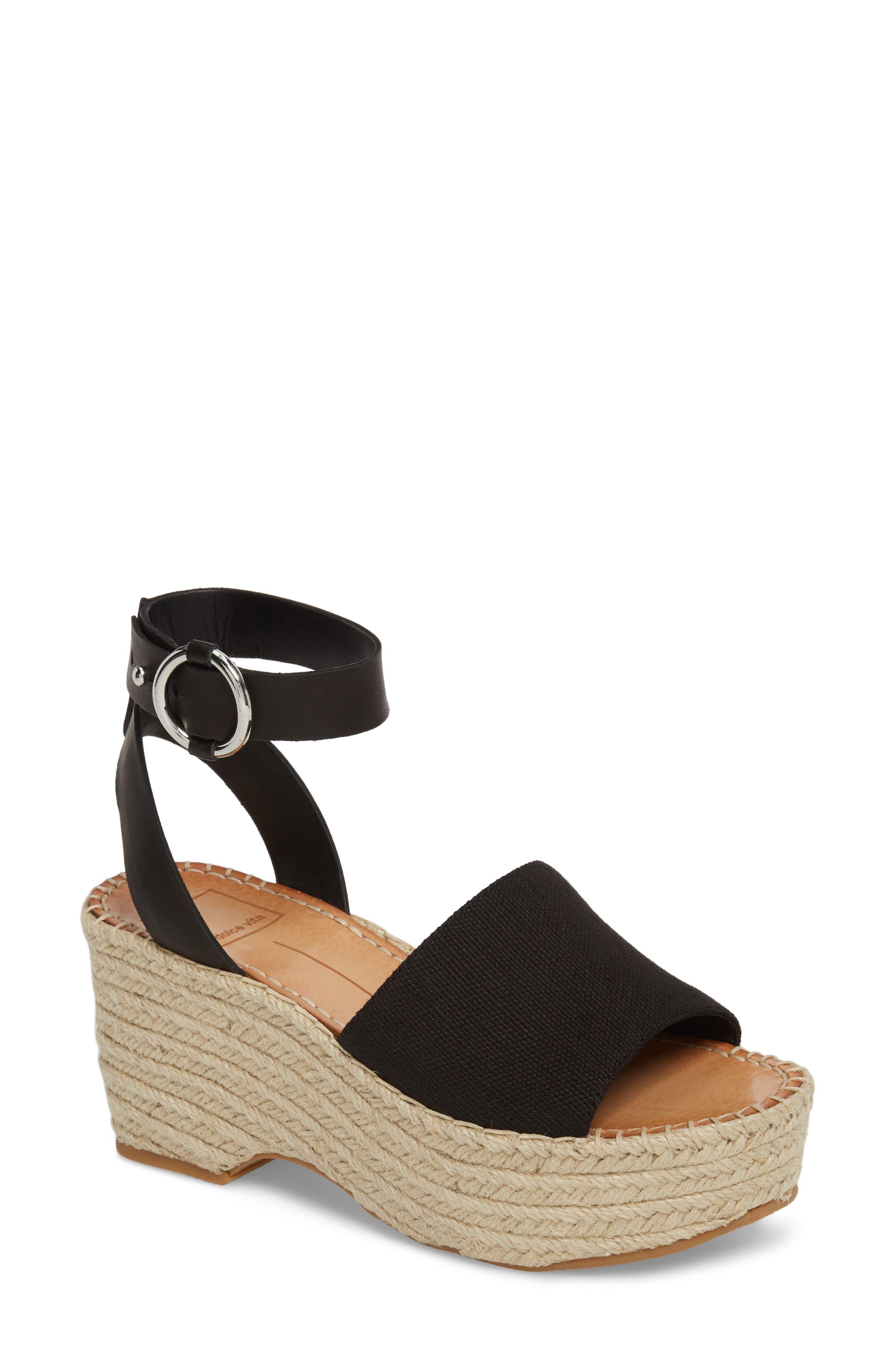 Lesly Espadrille Platform Sandal,                         Main,                         color, 001