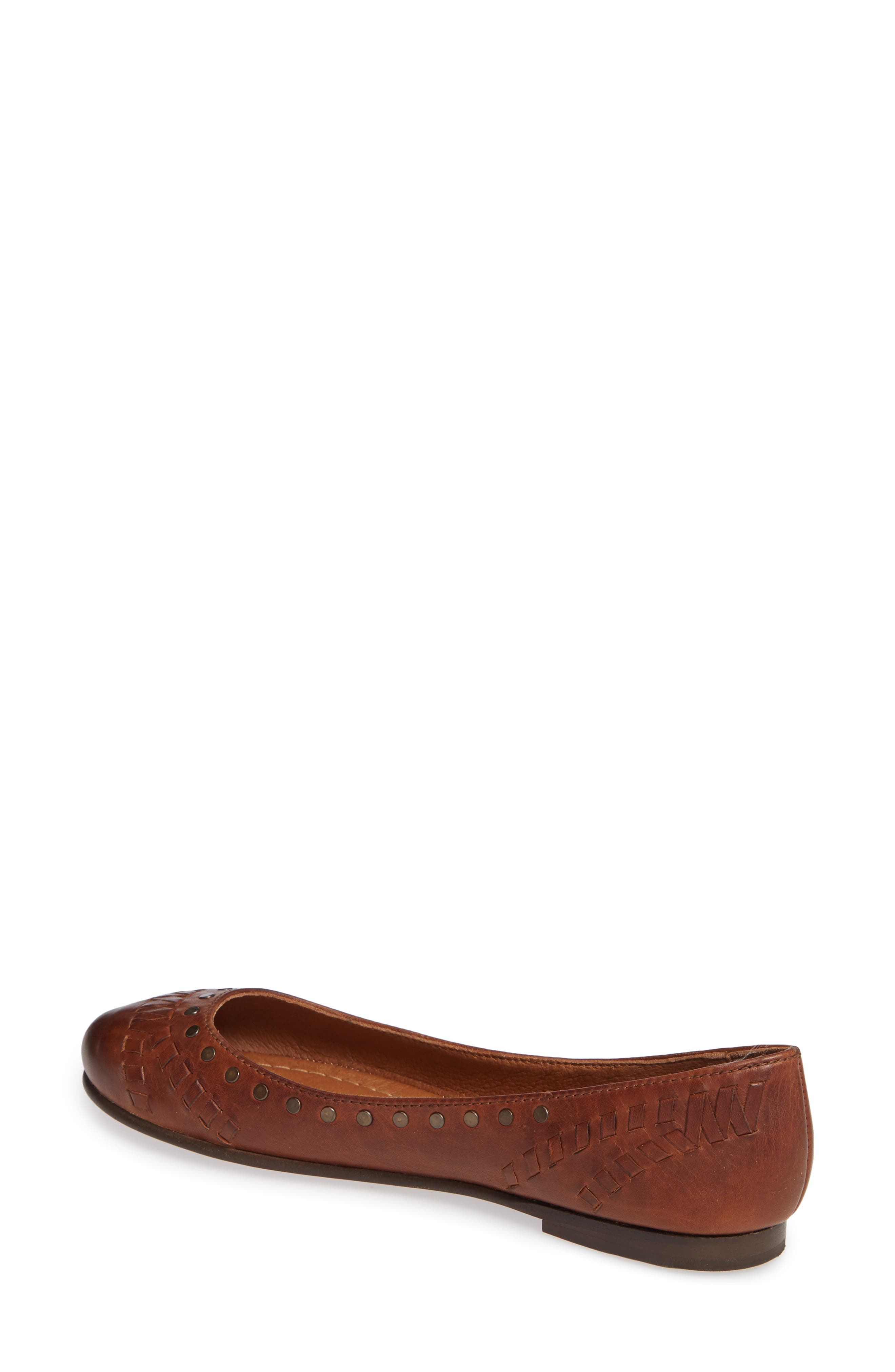 Carson Whipstitch Ballet Flat,                             Alternate thumbnail 2, color,                             COGNAC LEATHER