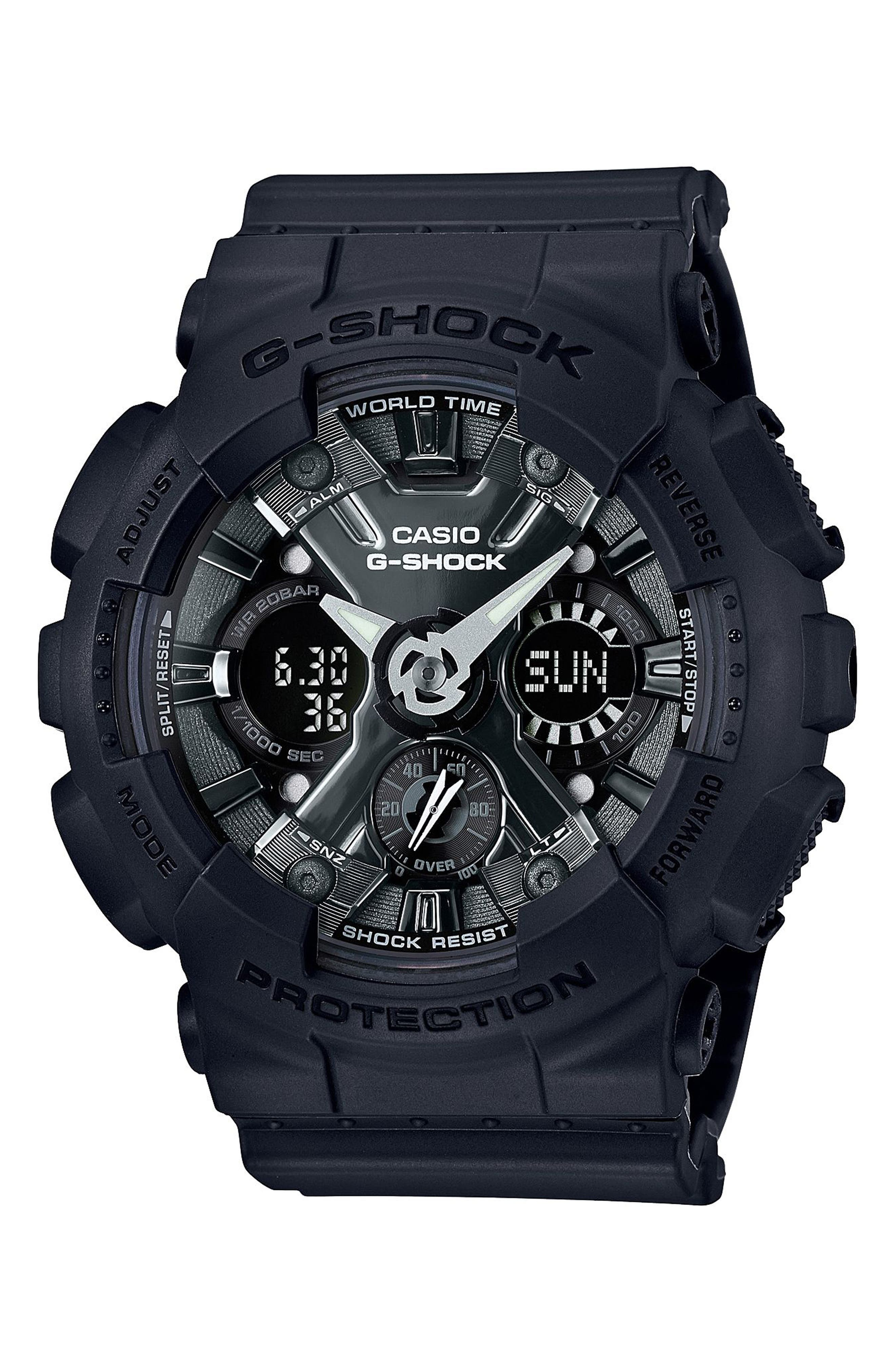 G-Shock S-Series Ana-Digi Watch, 49mm,                         Main,                         color, BLACK/ GREY