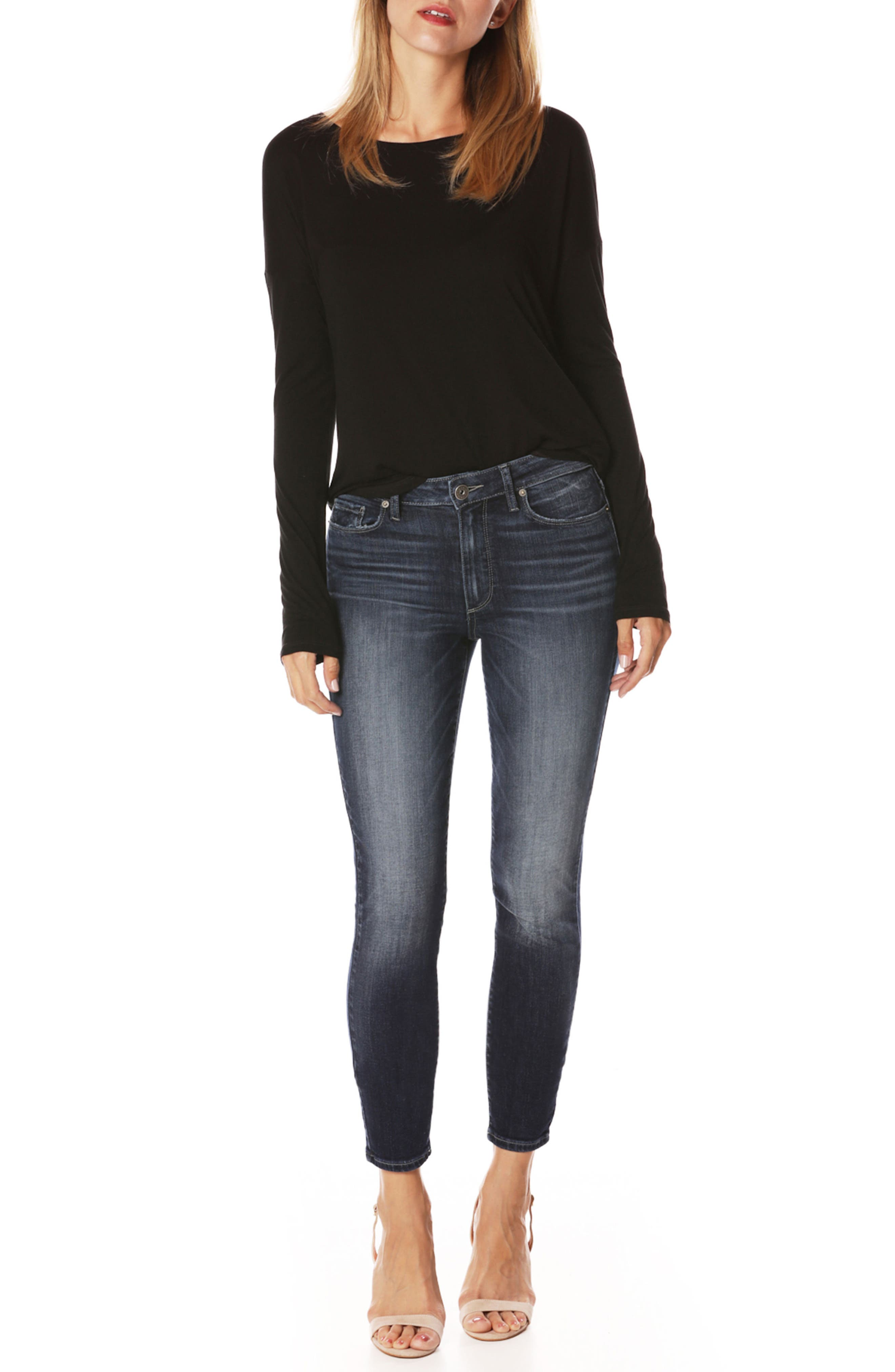 Transcend Vintage - Hoxton High Waist Crop Ultra Skinny Jeans,                             Alternate thumbnail 3, color,                             400