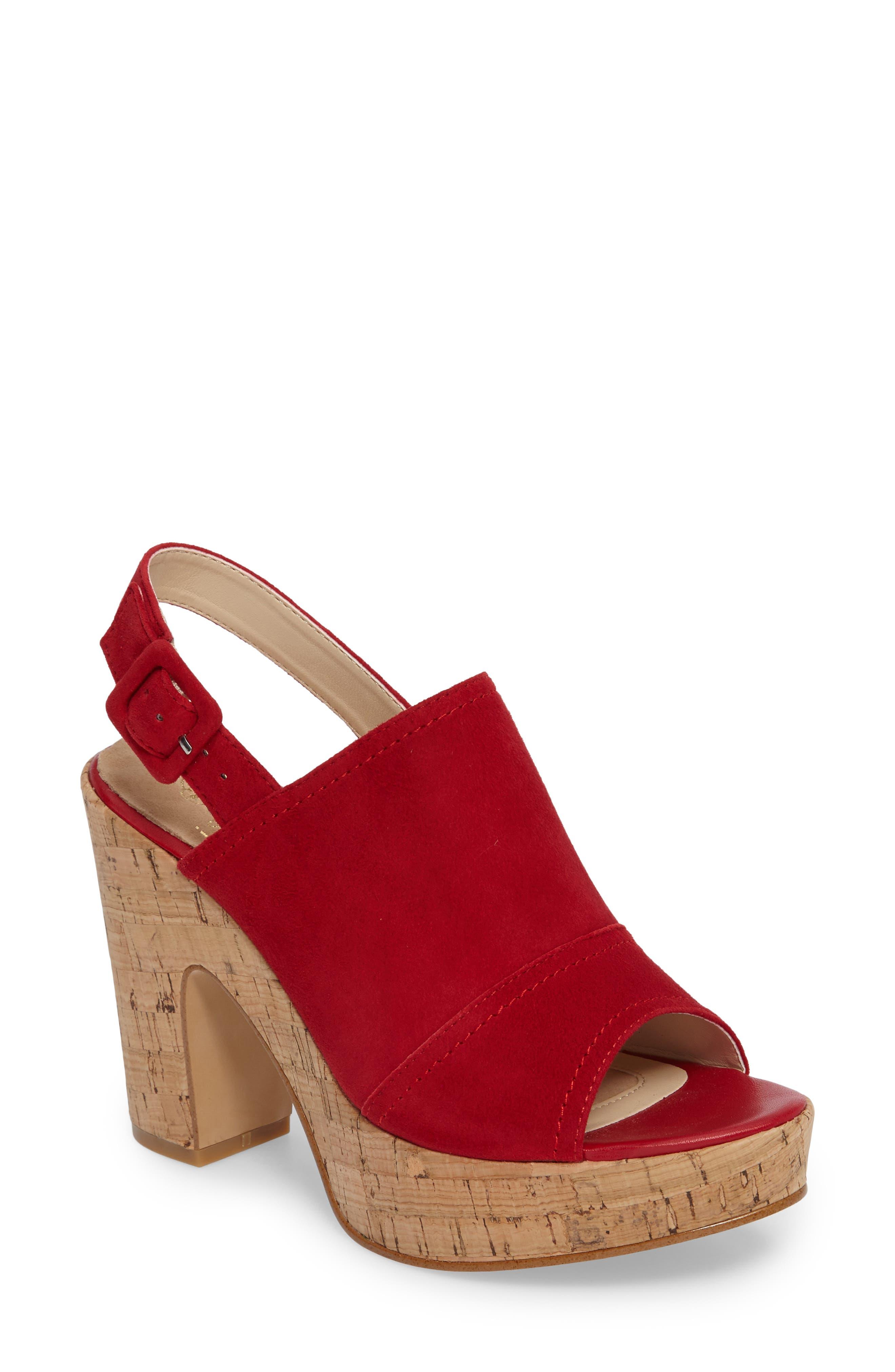 Gabriela Slingback Platform Sandal,                             Main thumbnail 1, color,                             FIRE RED SUEDE
