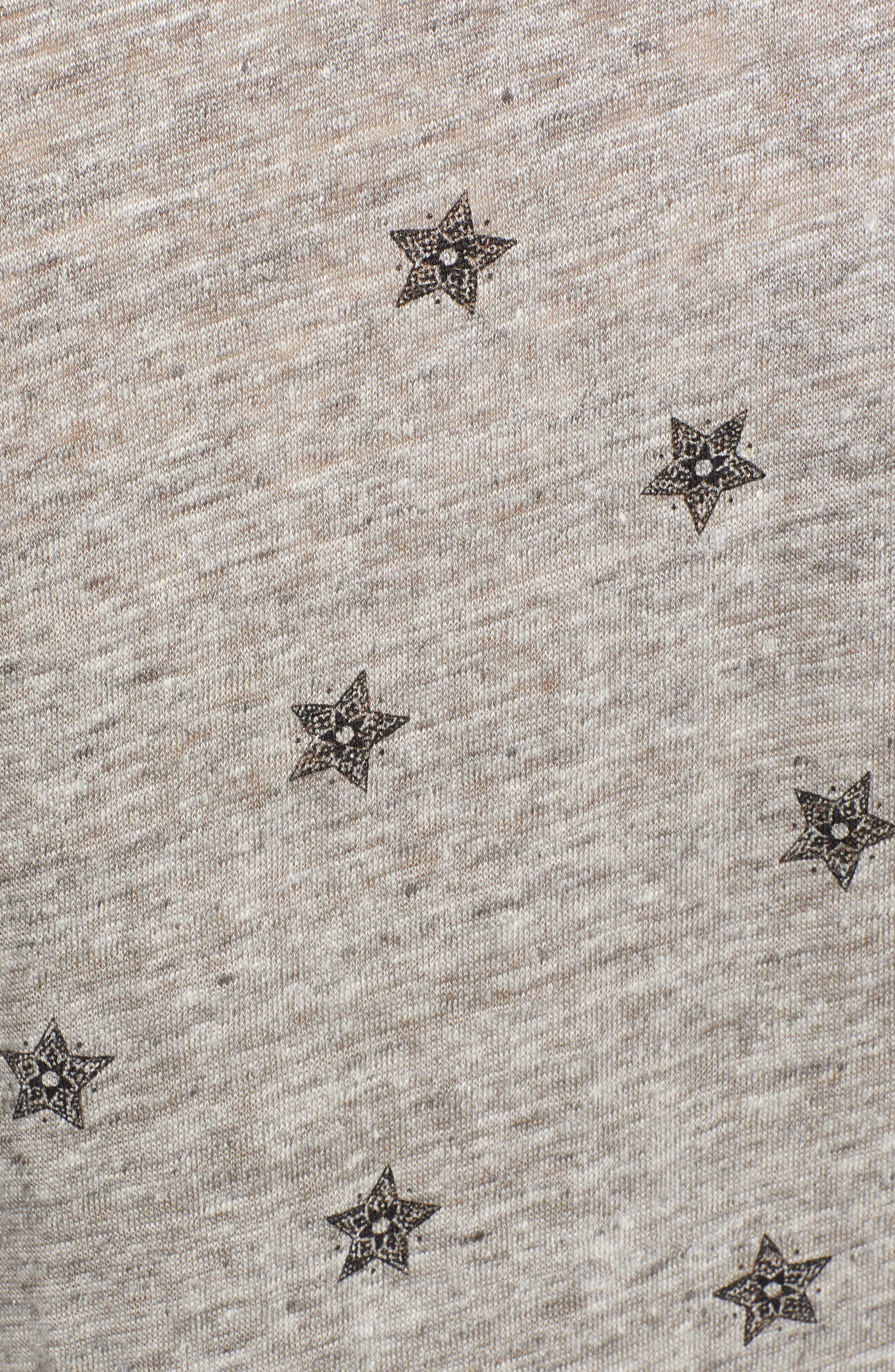 Cara V-Neck Slub Knit Tee,                             Alternate thumbnail 6, color,                             HEATHER GREY RIVET STAR