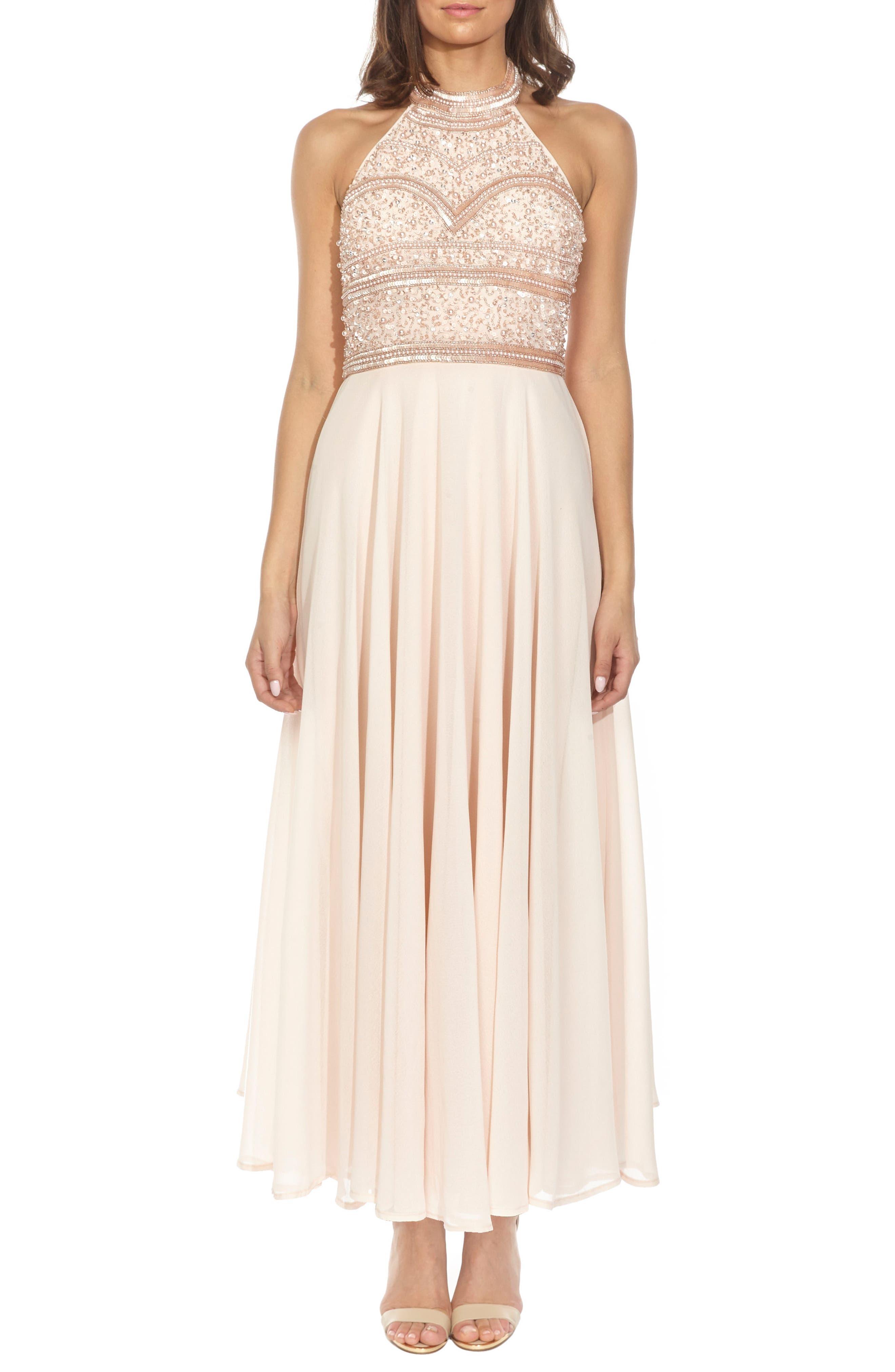 Sunrise Embellished Halter Maxi Dress,                         Main,                         color, 250