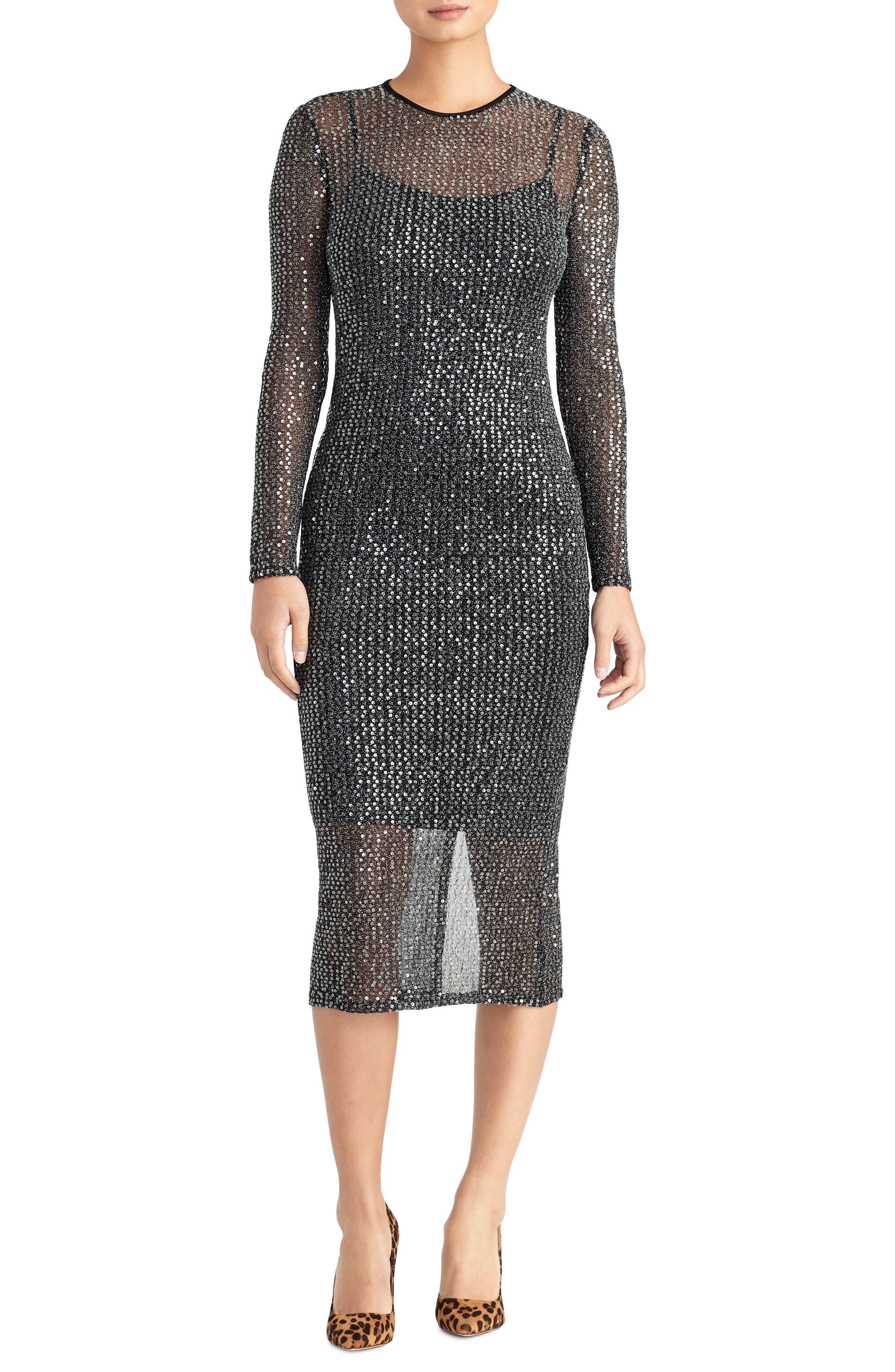 Sequin Midi Dress,                         Main,                         color, BLACK