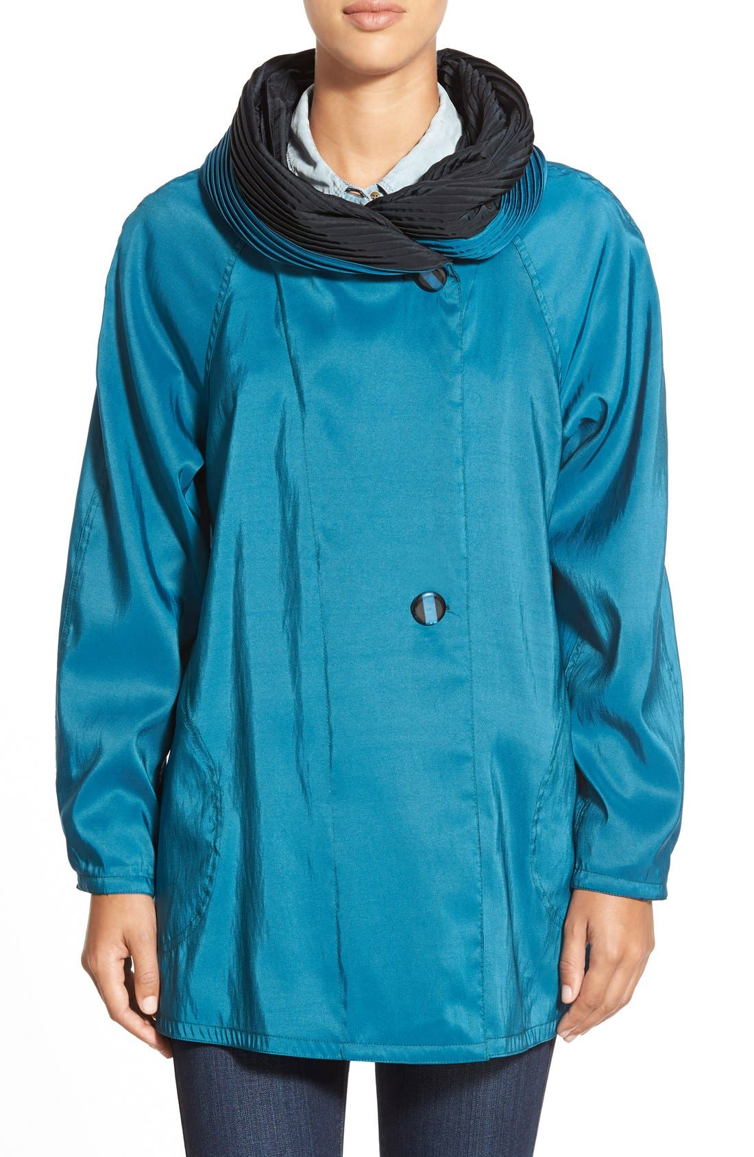 'Mini Donatella' Reversible Pleat Hood Packable Travel Coat,                             Main thumbnail 7, color,