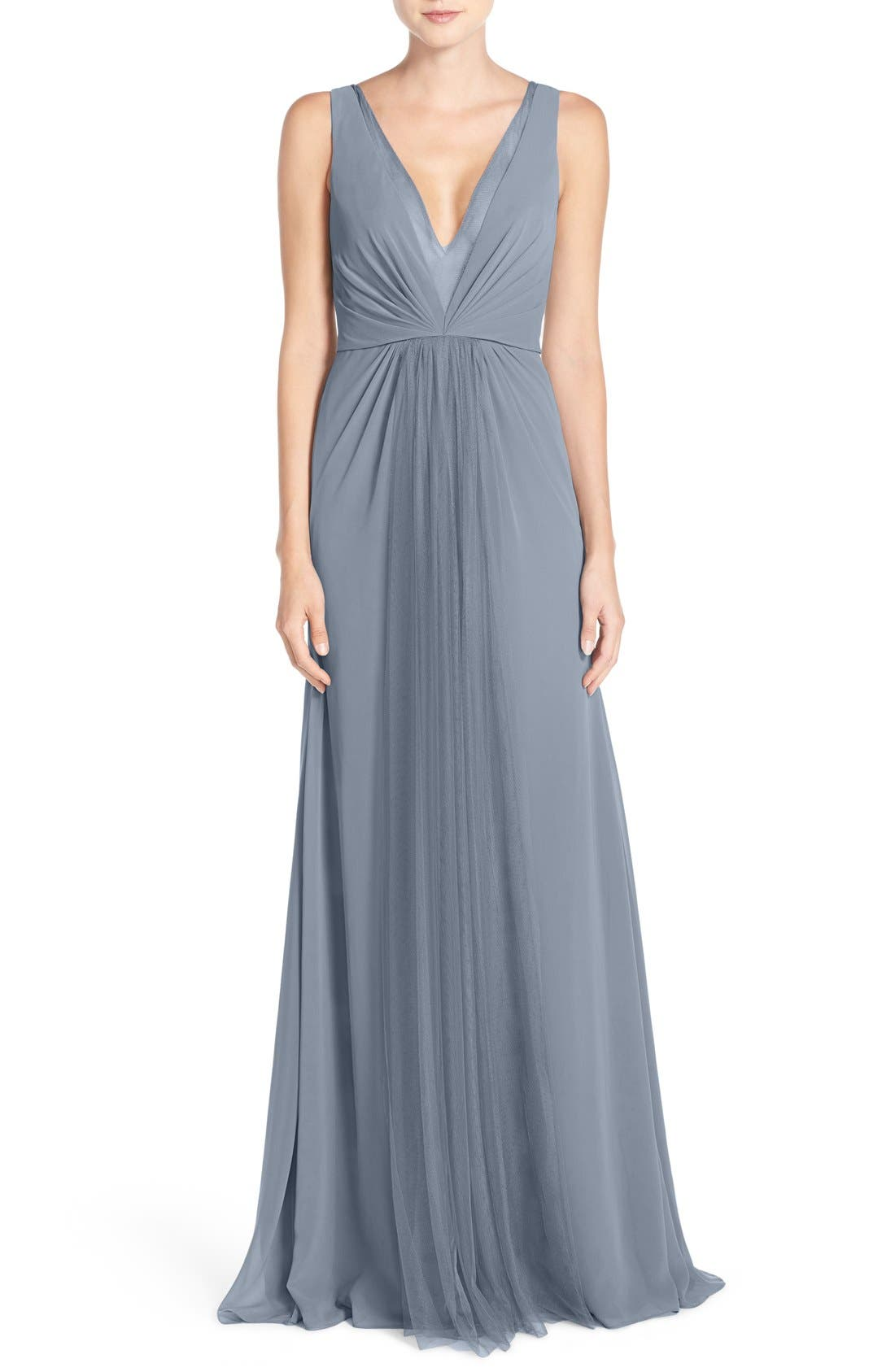 Deep V-Neck Chiffon & Tulle Gown,                             Main thumbnail 5, color,