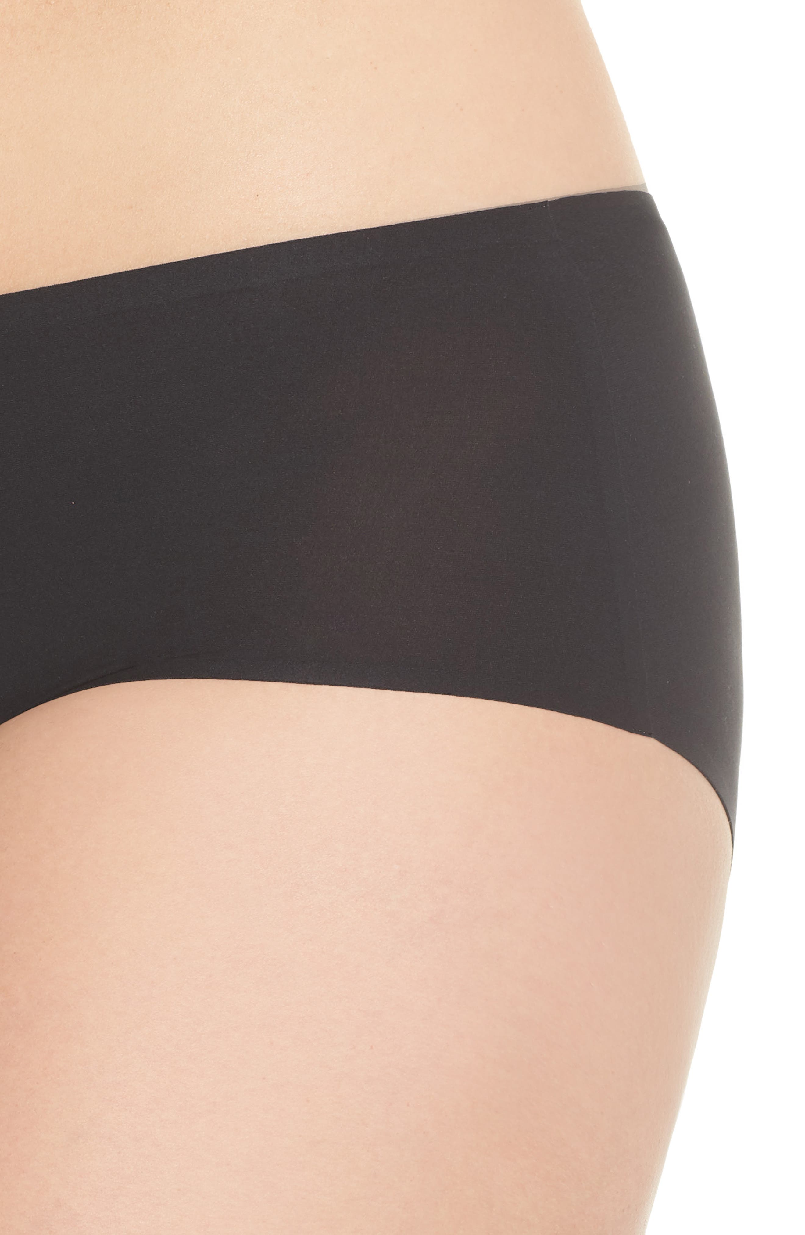 Soft Stretch Seamless Hipster Panties,                             Alternate thumbnail 4, color,                             BLACK