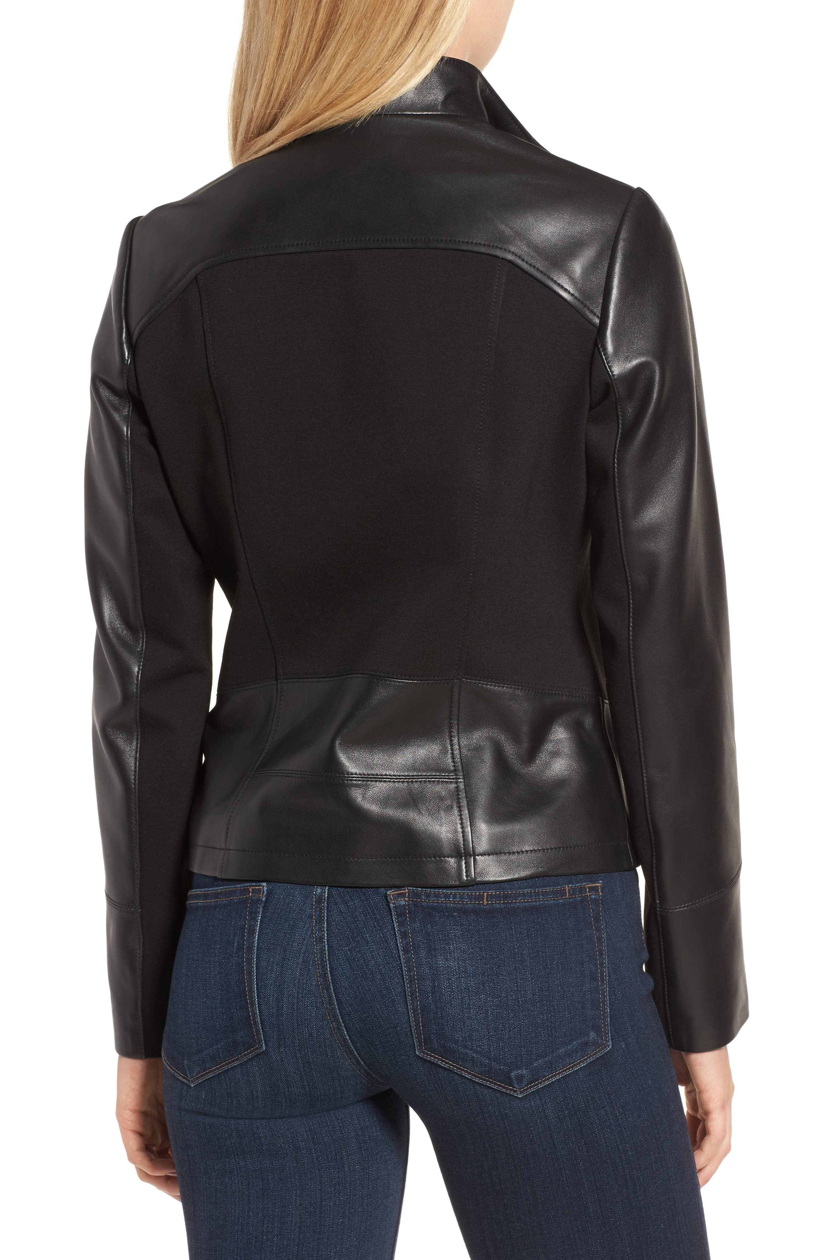 Ponte & Leather Jacket,                             Alternate thumbnail 2, color,                             001
