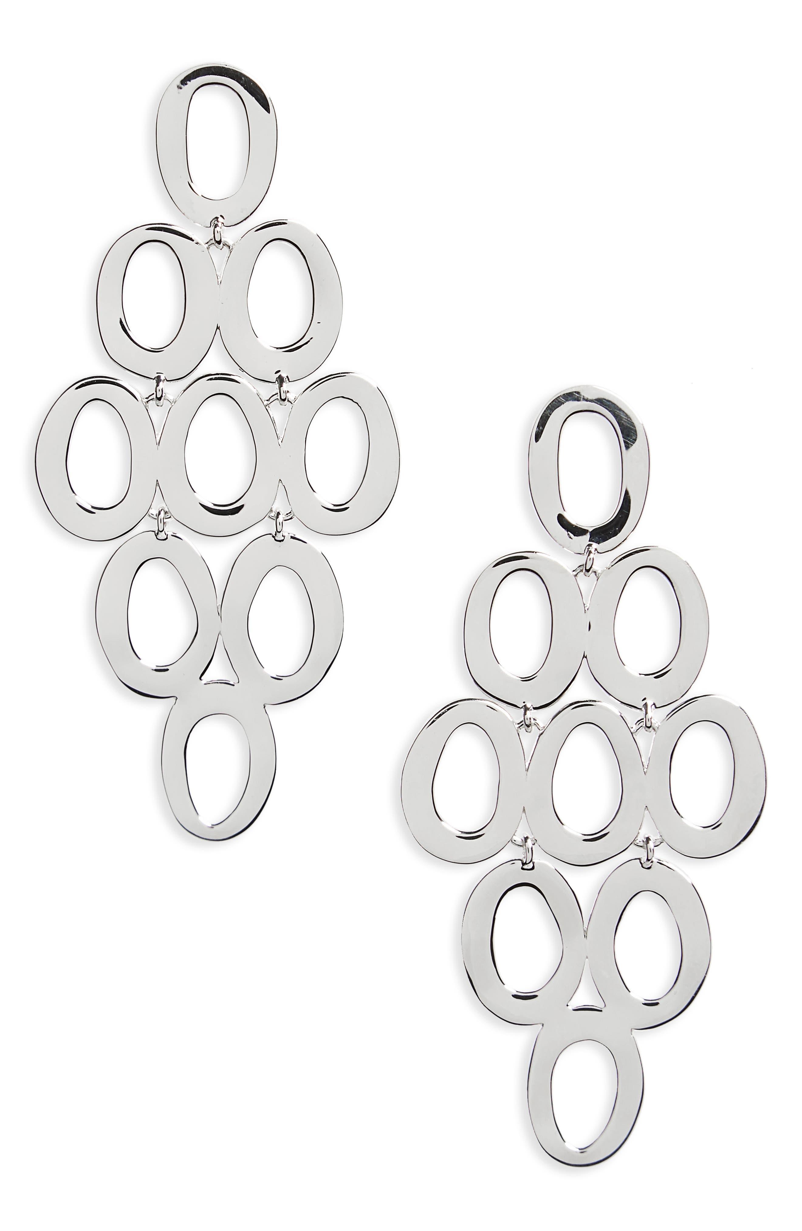 Open Oval Cascade Earrings, Main, color, 040