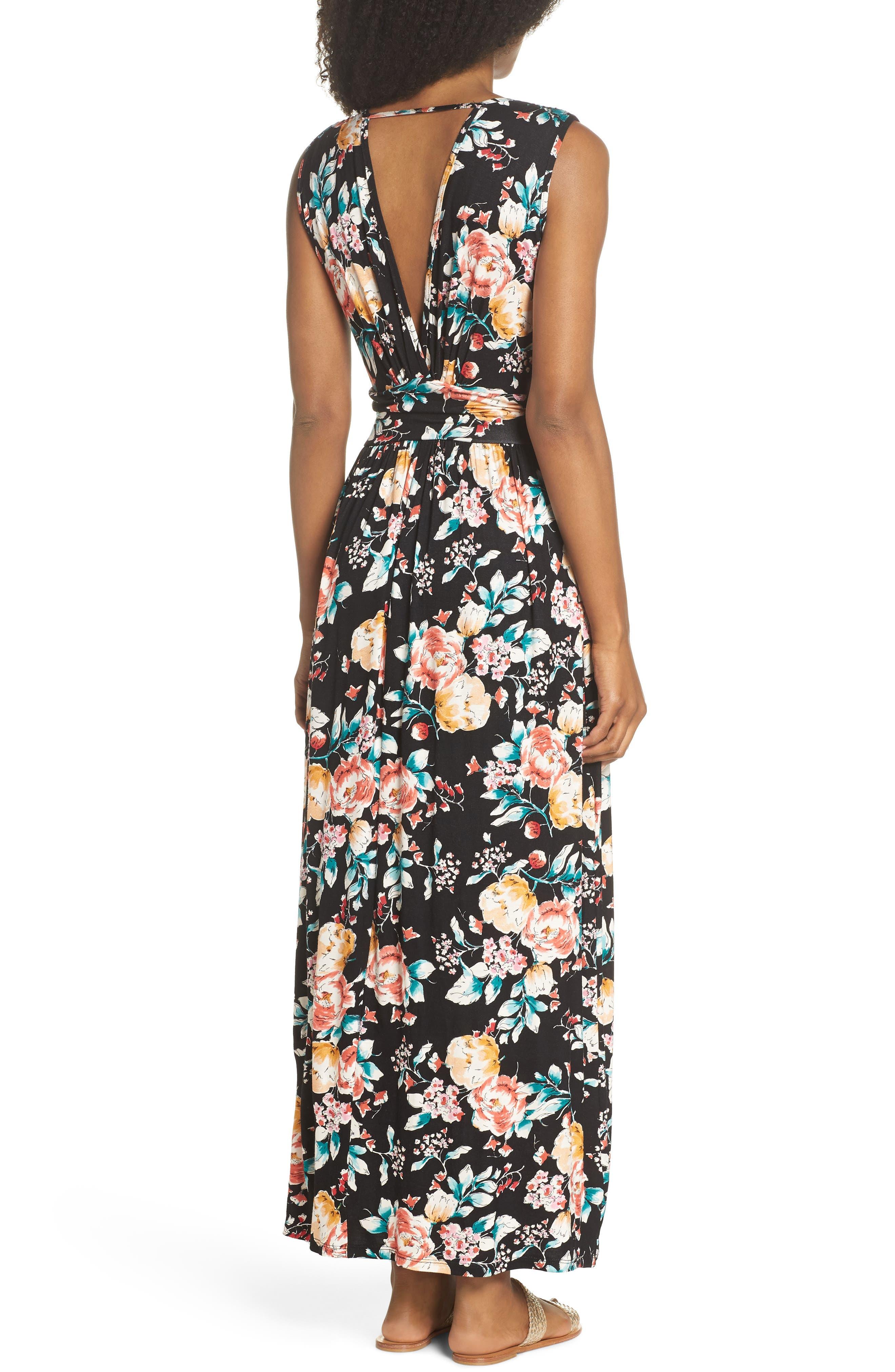 Peony Deep V Maxi Dress,                             Alternate thumbnail 2, color,                             PEONY