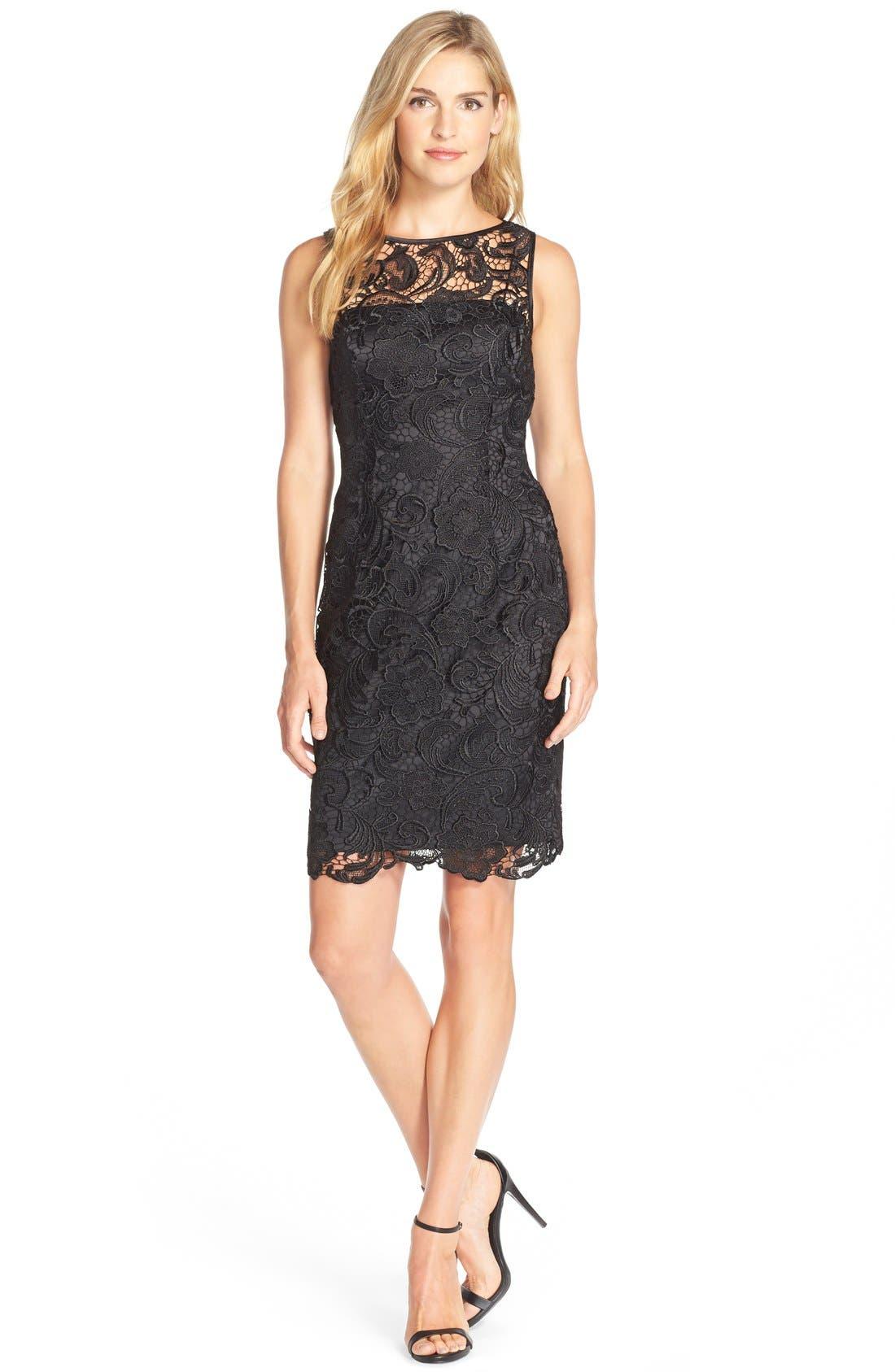 Illusion Bodice Lace Sheath Dress,                             Alternate thumbnail 12, color,