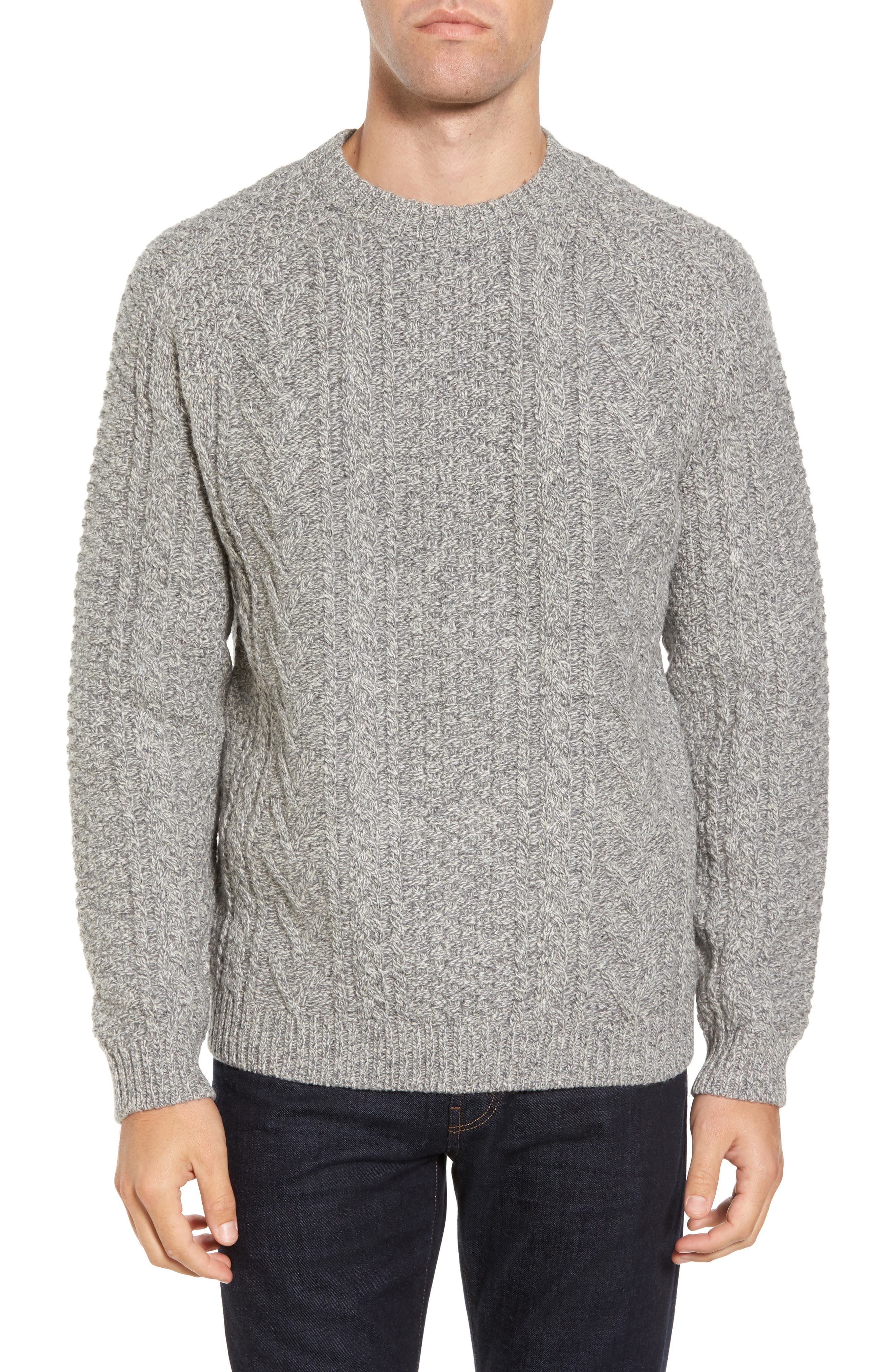 Fisherman Knit Wool Blend Sweater,                         Main,                         color,