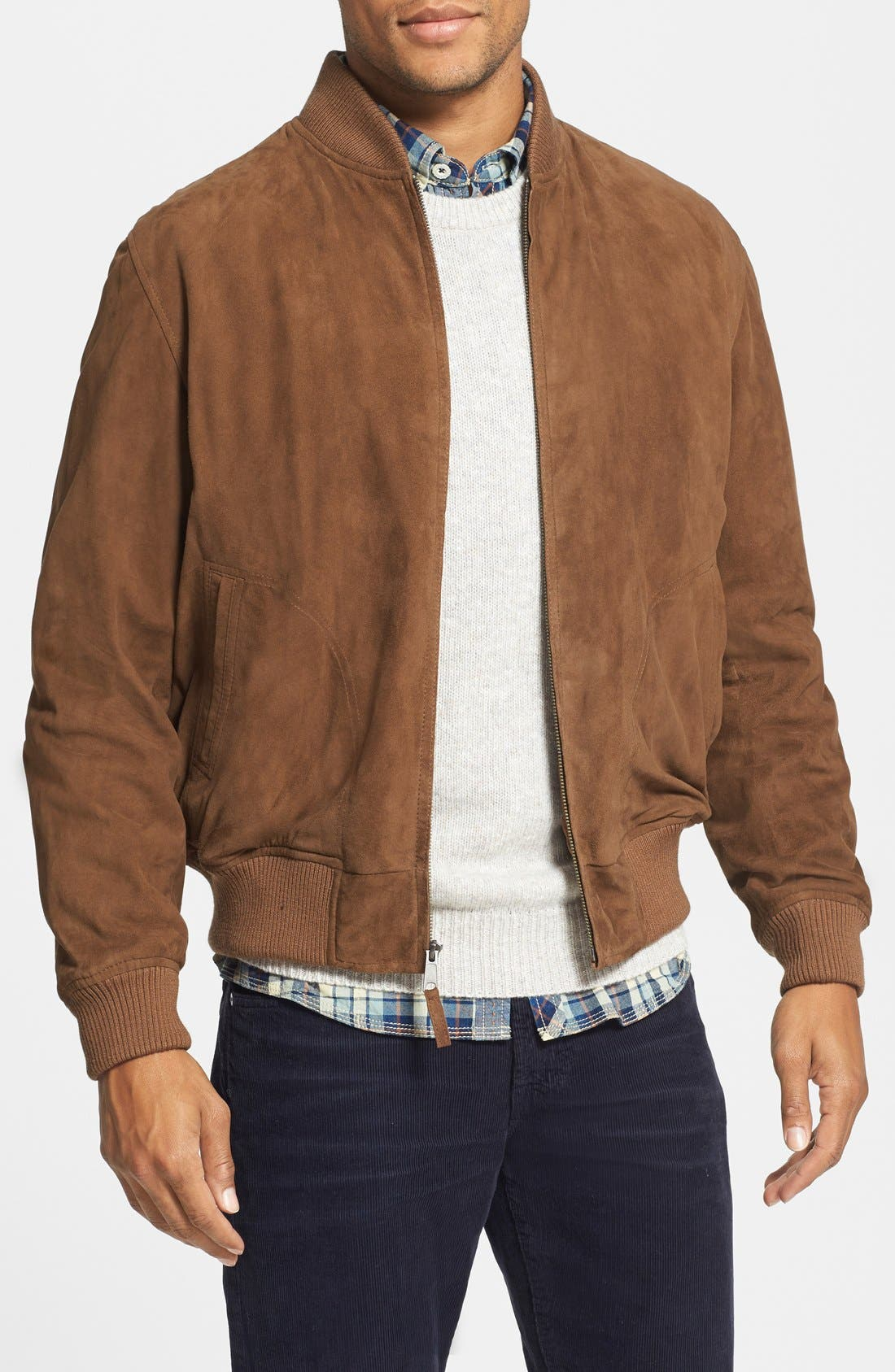Suede Baseball Jacket,                         Main,                         color, RUM BROWN