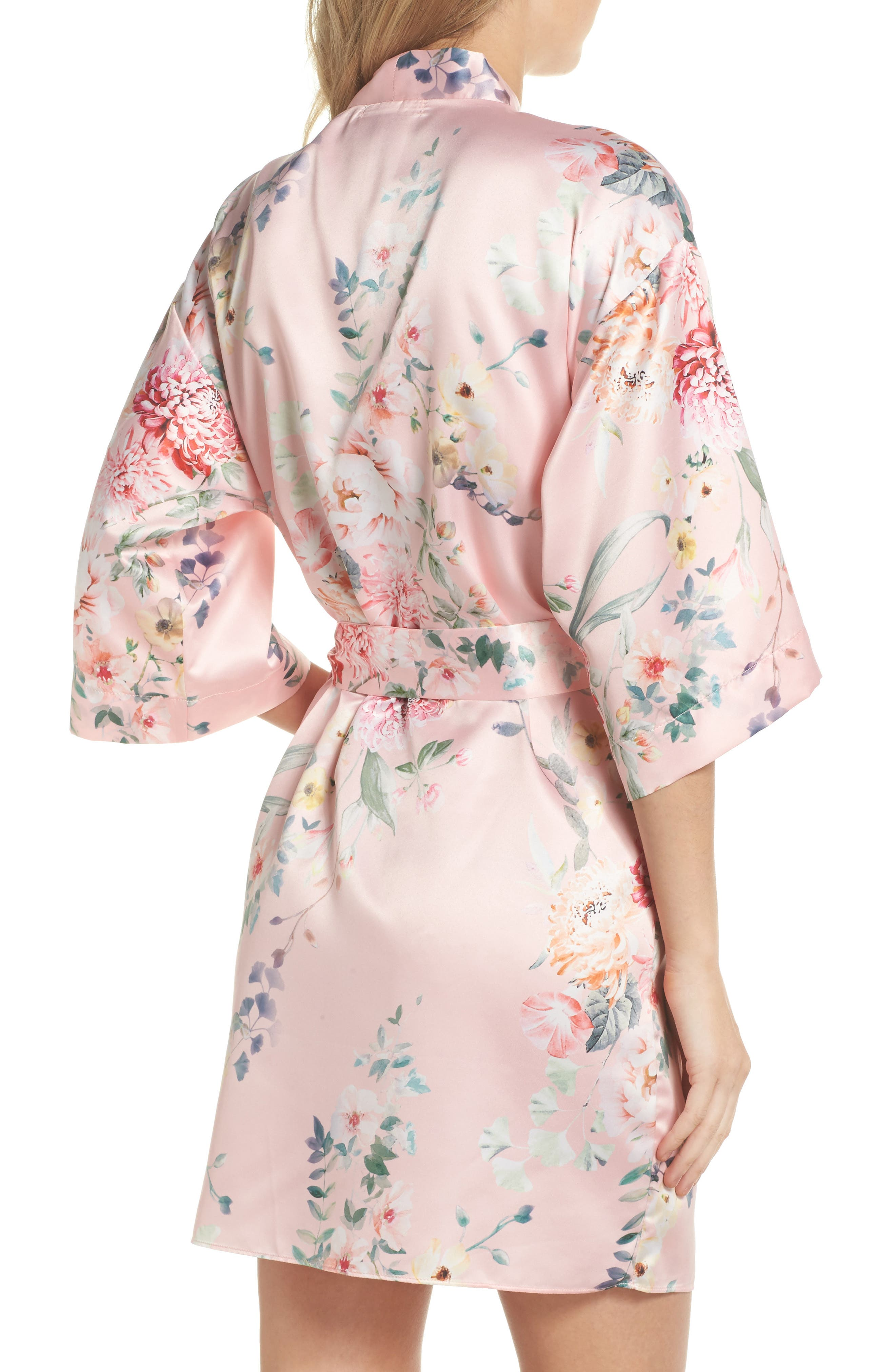 Renata Short Satin Robe,                             Alternate thumbnail 7, color,