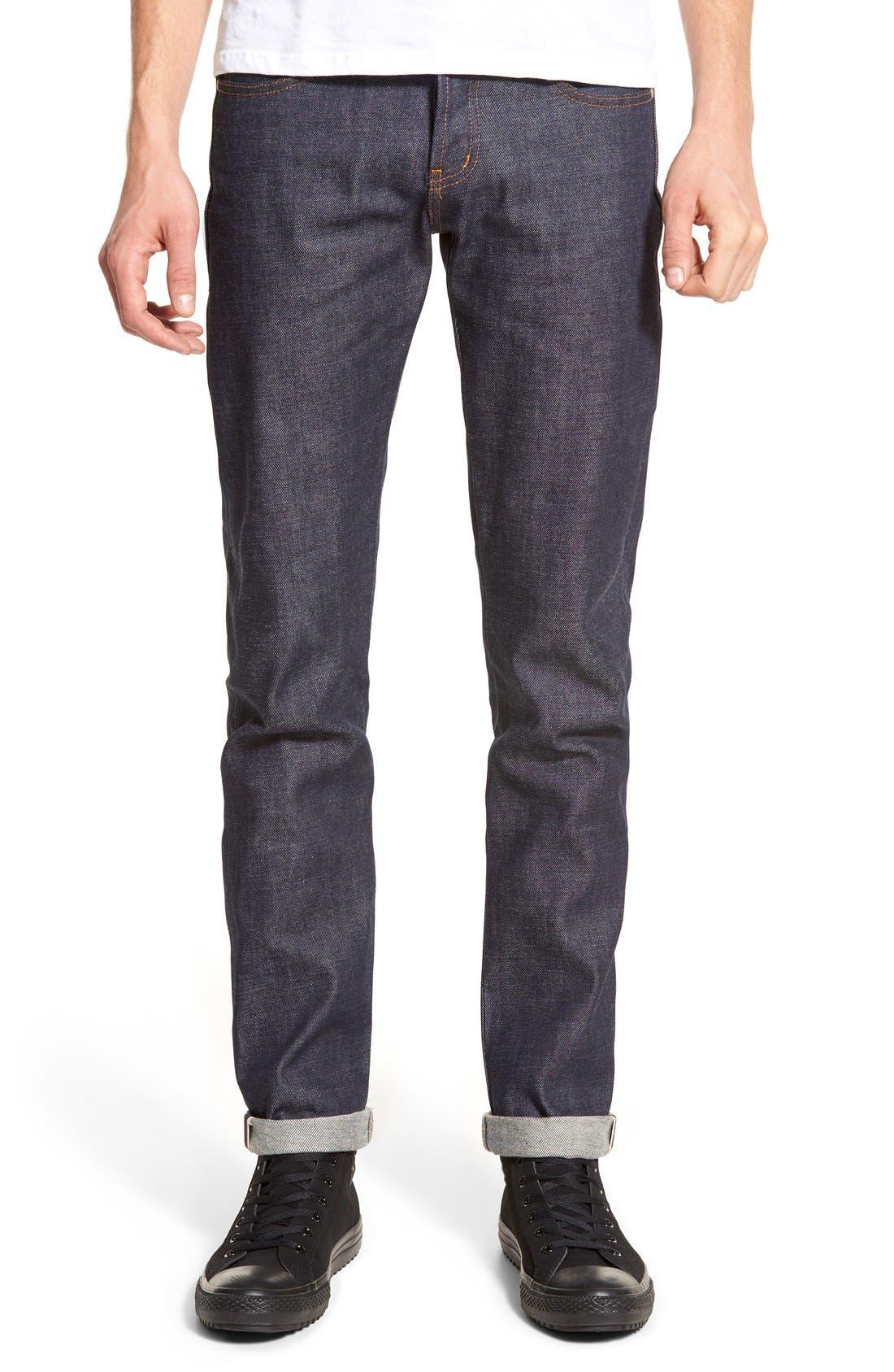 Super Skinny Guy Skinny Fit Selvedge Jeans,                             Main thumbnail 1, color,                             INDIGO