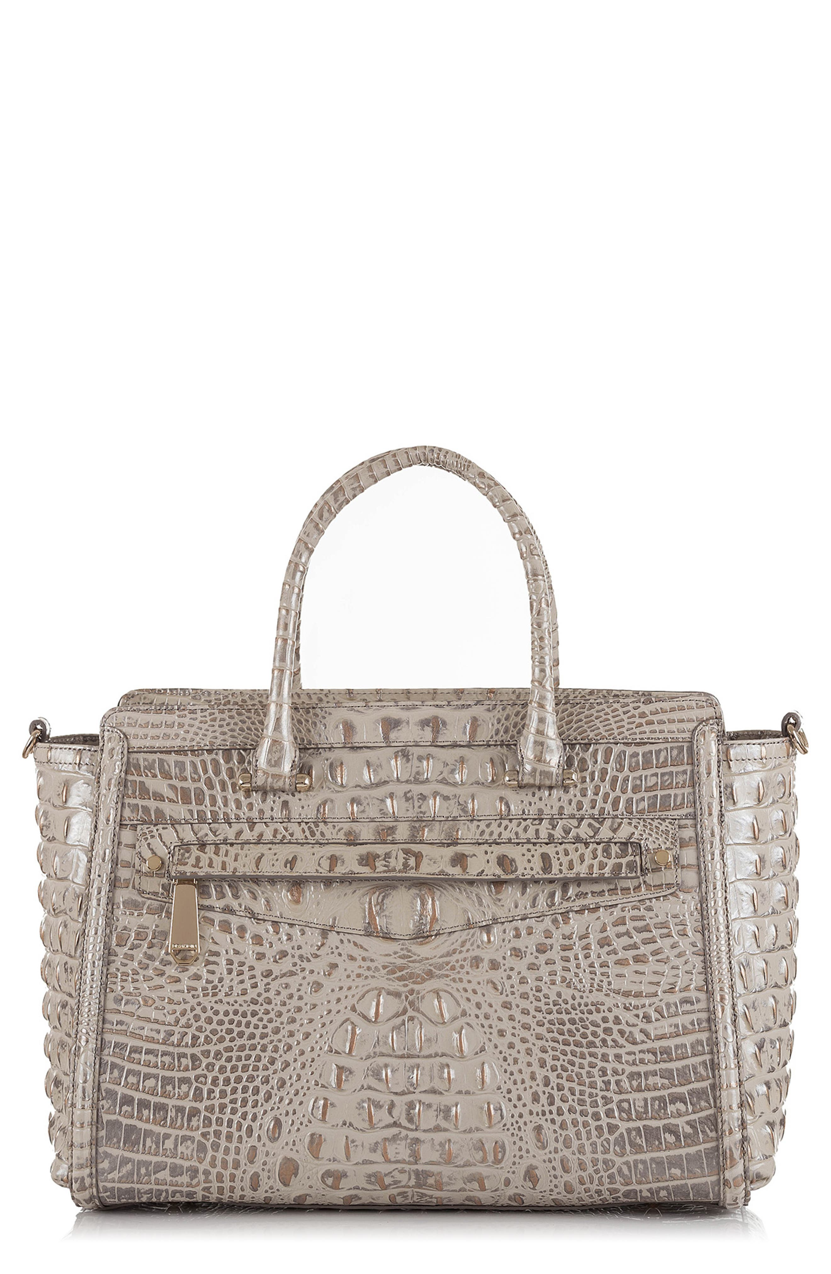 Harper Embossed Leather Satchel,                             Main thumbnail 1, color,                             SILVER BIRCH