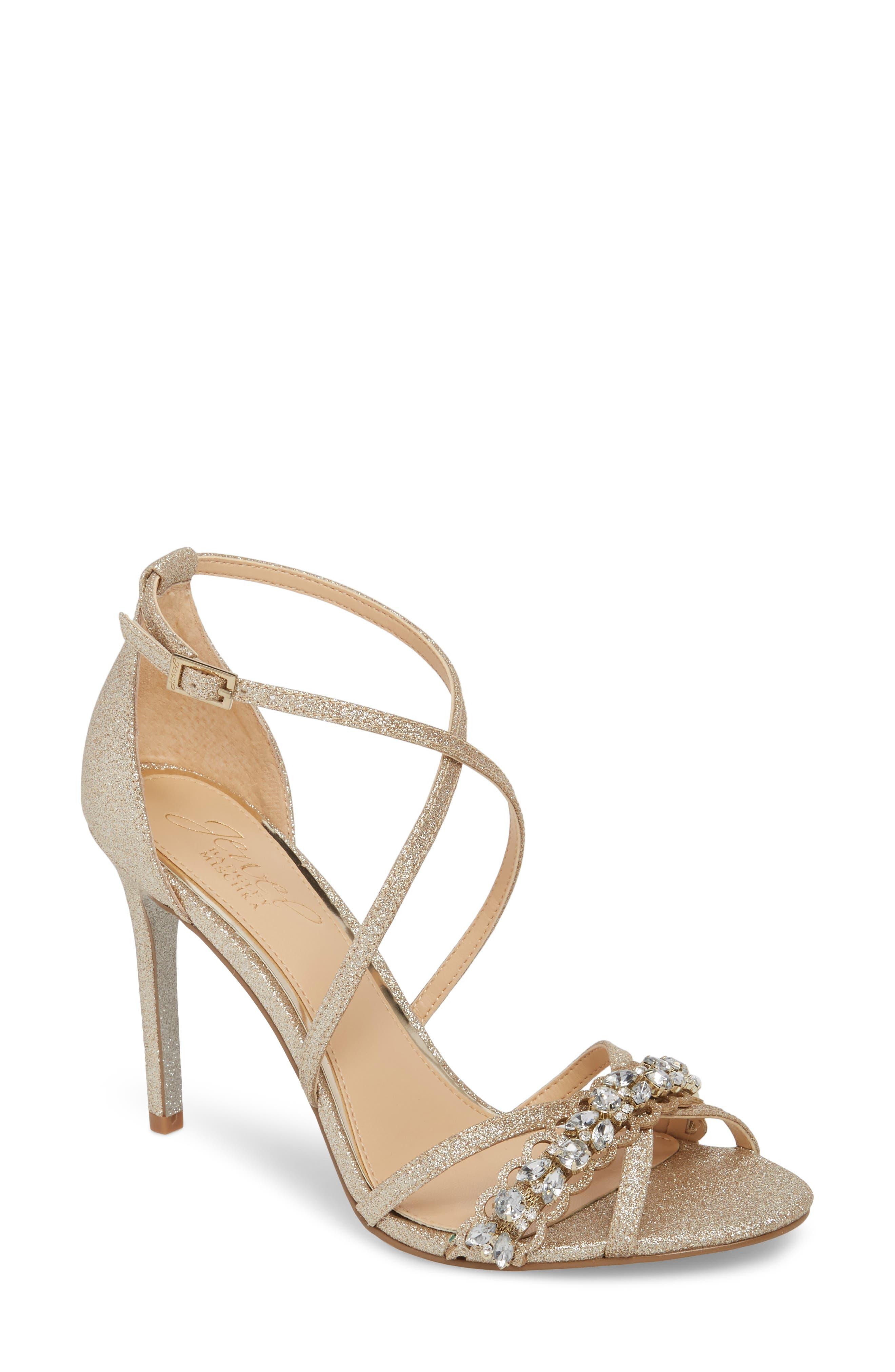 JEWEL BADGLEY MISCHKA Gisele Sandal, Main, color, LIGHT GOLD GLITTER FABRIC