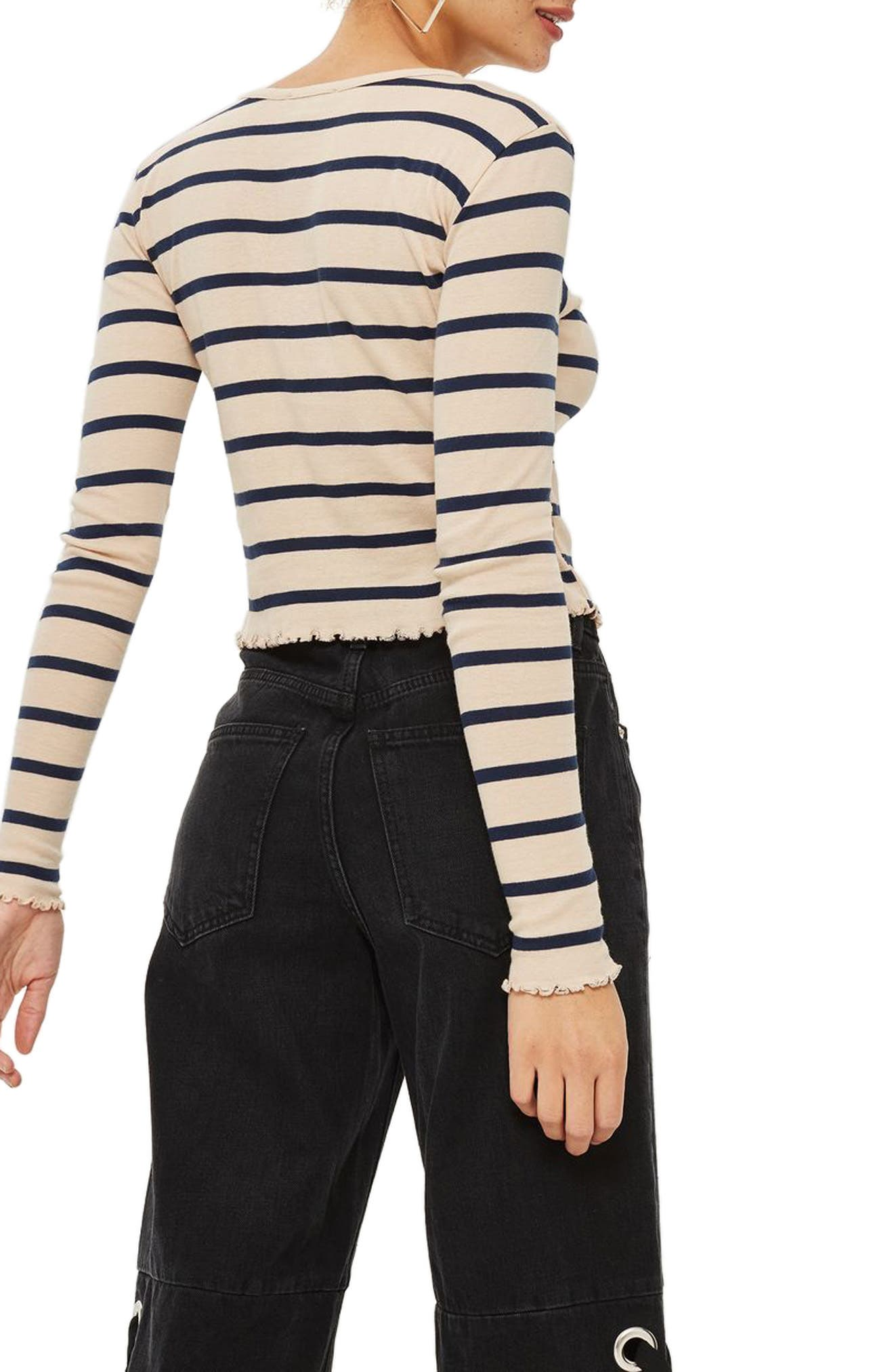 Petite Stripe Lettuce Trim T-Shirt,                             Alternate thumbnail 2, color,                             251