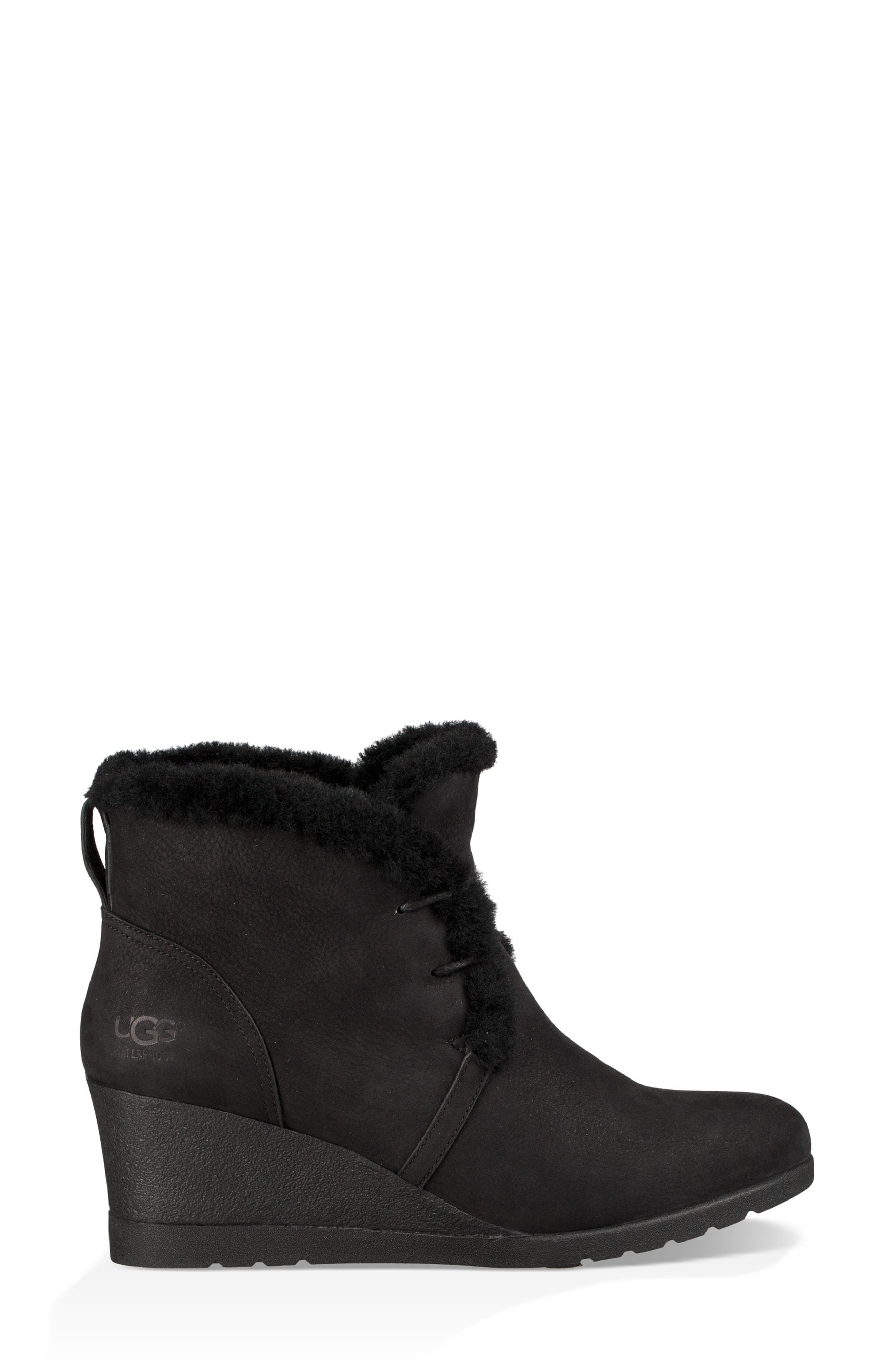 Jeovana Genuine Shearling Lined Boot,                             Alternate thumbnail 3, color,                             BLACK SUEDE