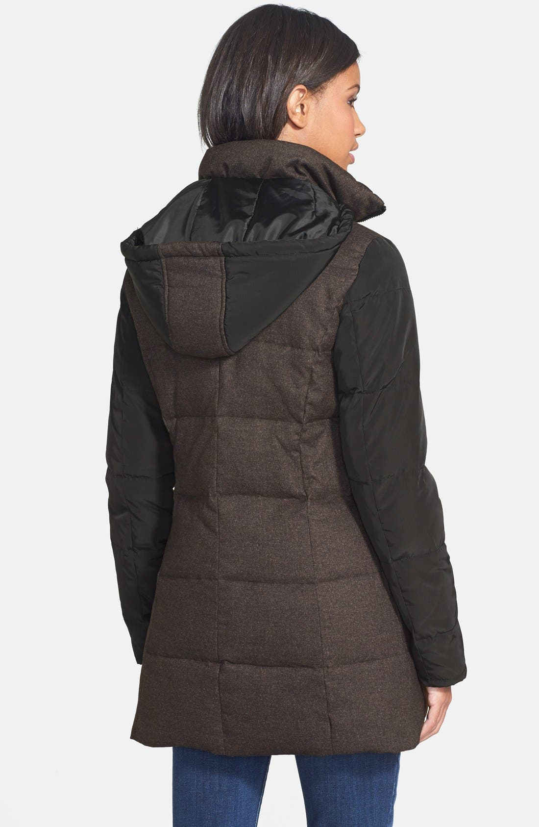 Mixed Media Quilted Coat,                             Alternate thumbnail 3, color,                             001