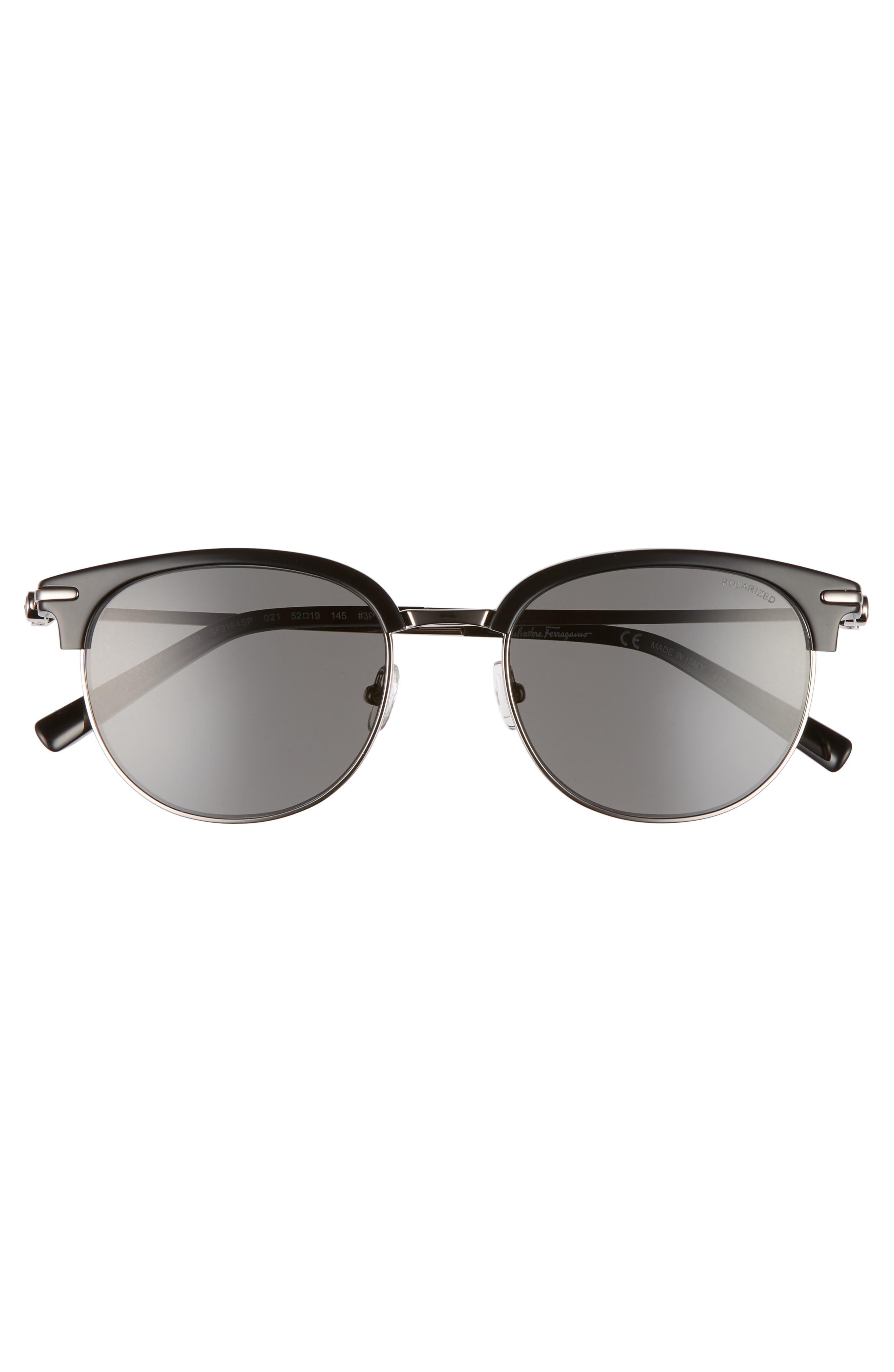 Double Gancio 52mm Polarized Sunglasses,                             Alternate thumbnail 2, color,                             BLACK/ RUTHENIUM