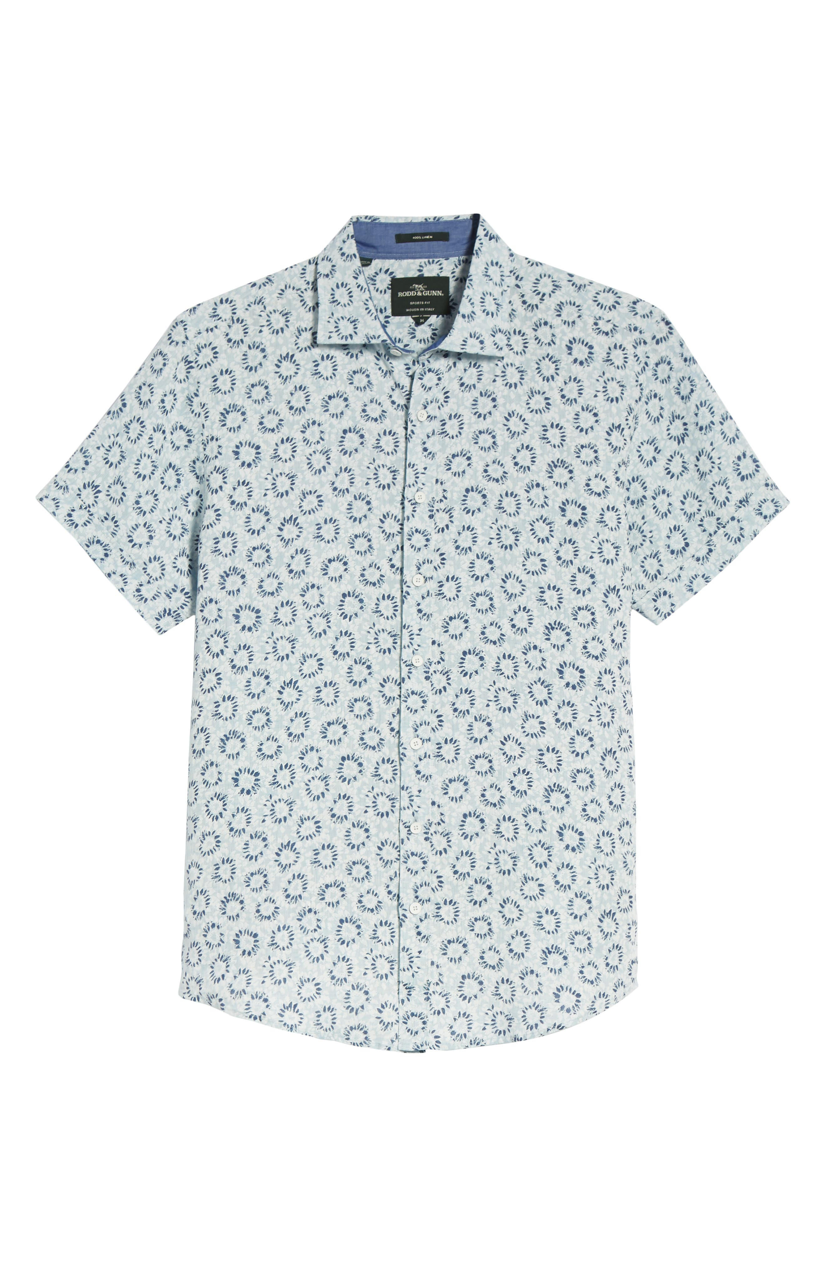 Alford Forest Floral Linen Sport Shirt,                             Alternate thumbnail 6, color,                             SKY