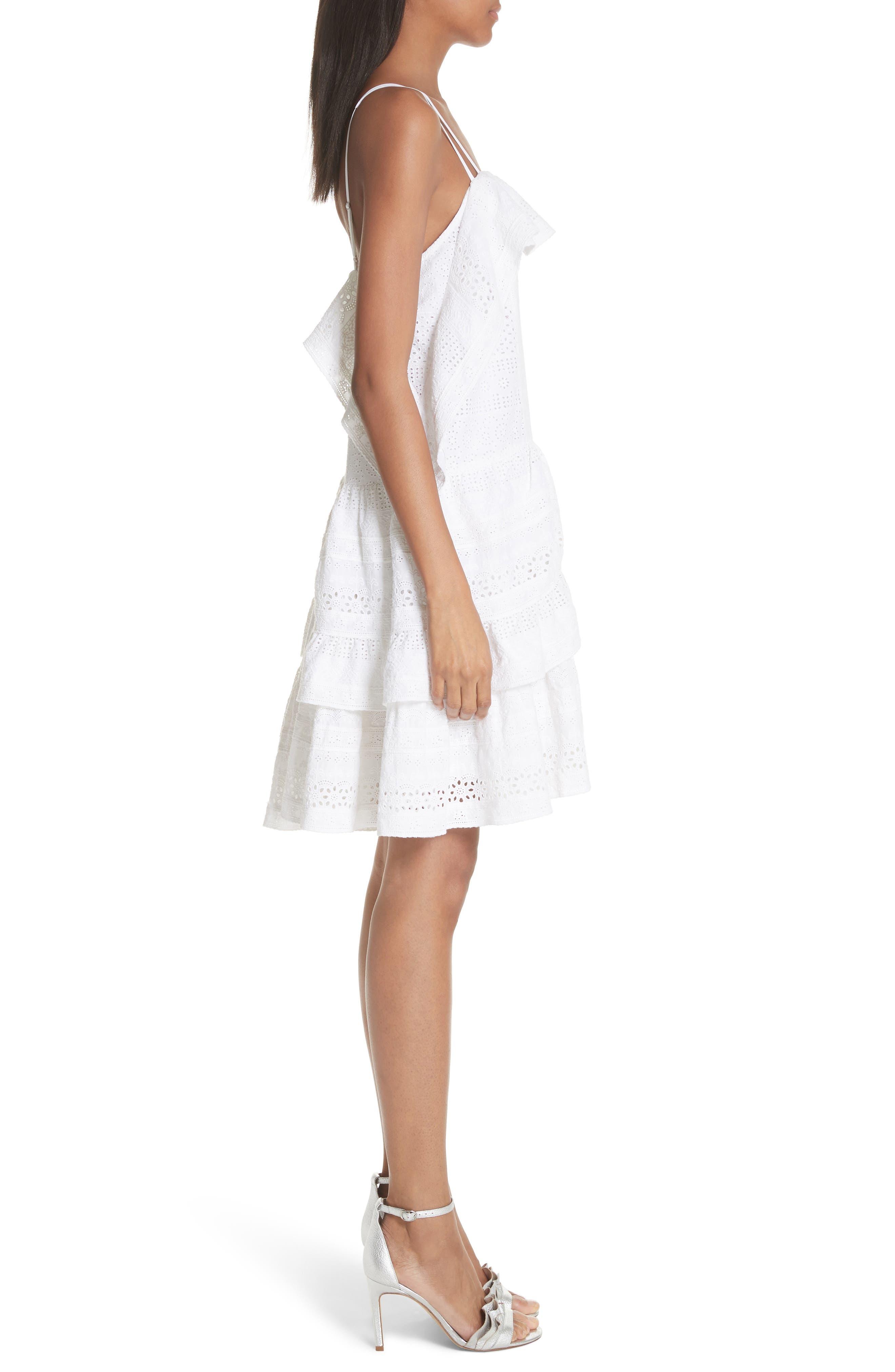 Deconstructed Broderie Dress,                             Alternate thumbnail 3, color,                             100