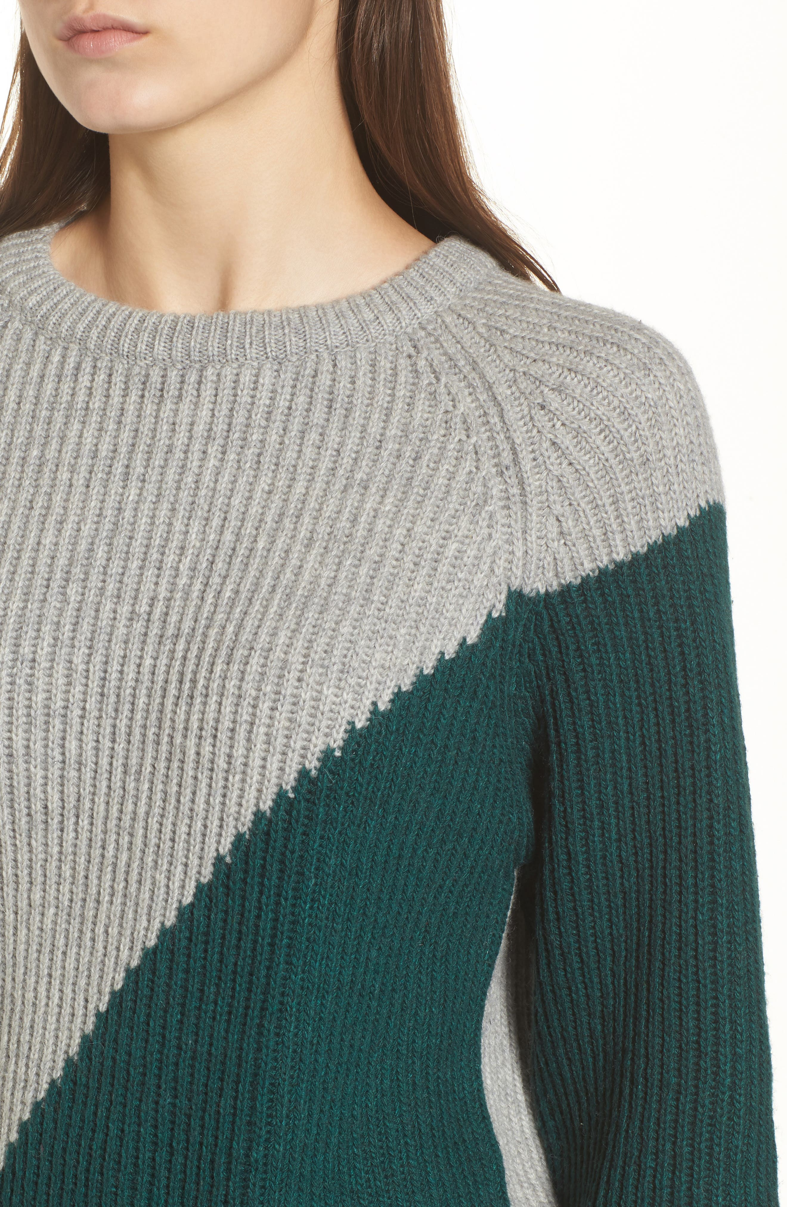 Unbalanced Pattern Wool Blend Sweater,                             Alternate thumbnail 4, color,                             313