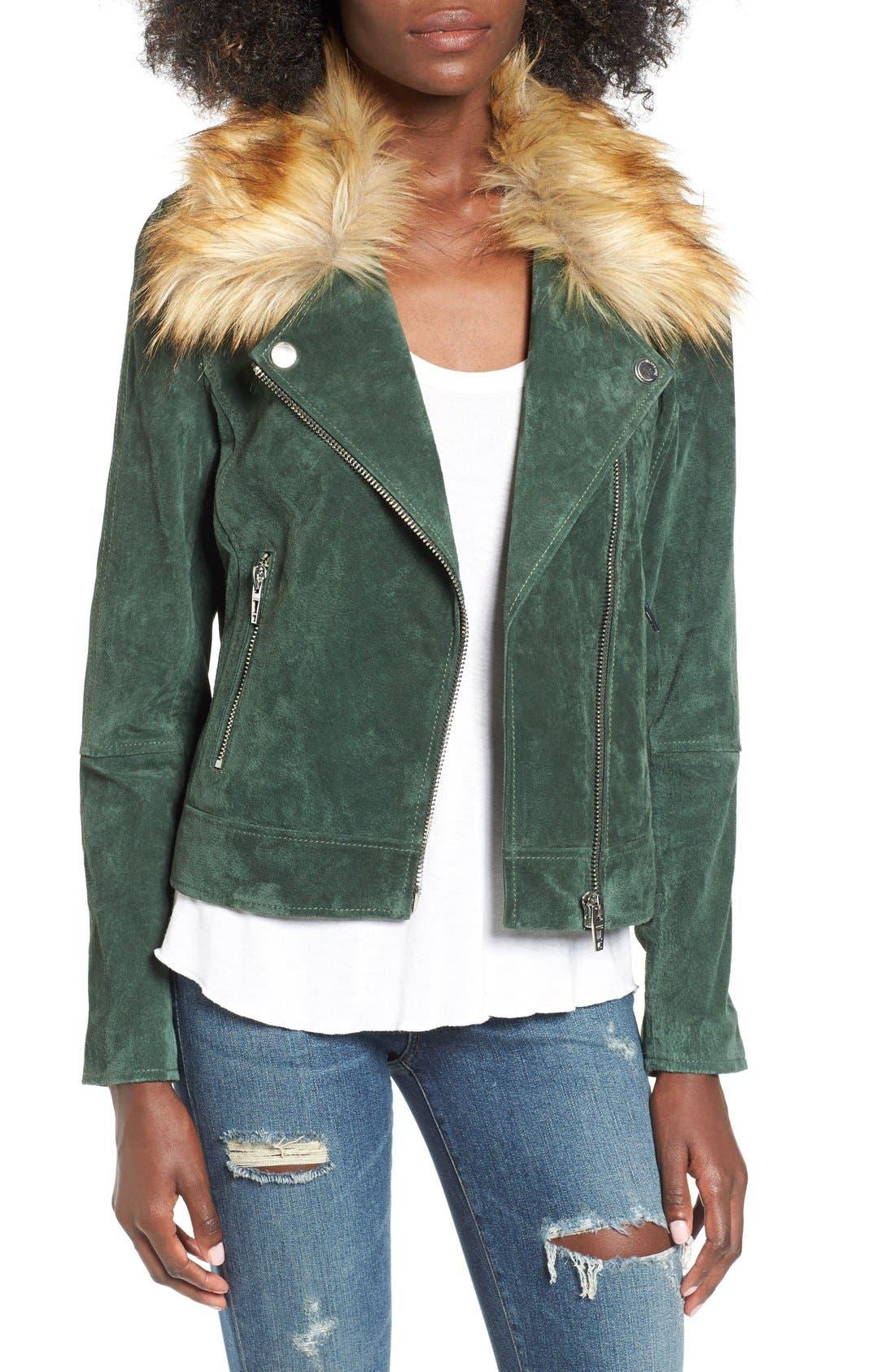 Suede Moto Jacket with Detachable Faux Fur Collar,                             Alternate thumbnail 4, color,                             316