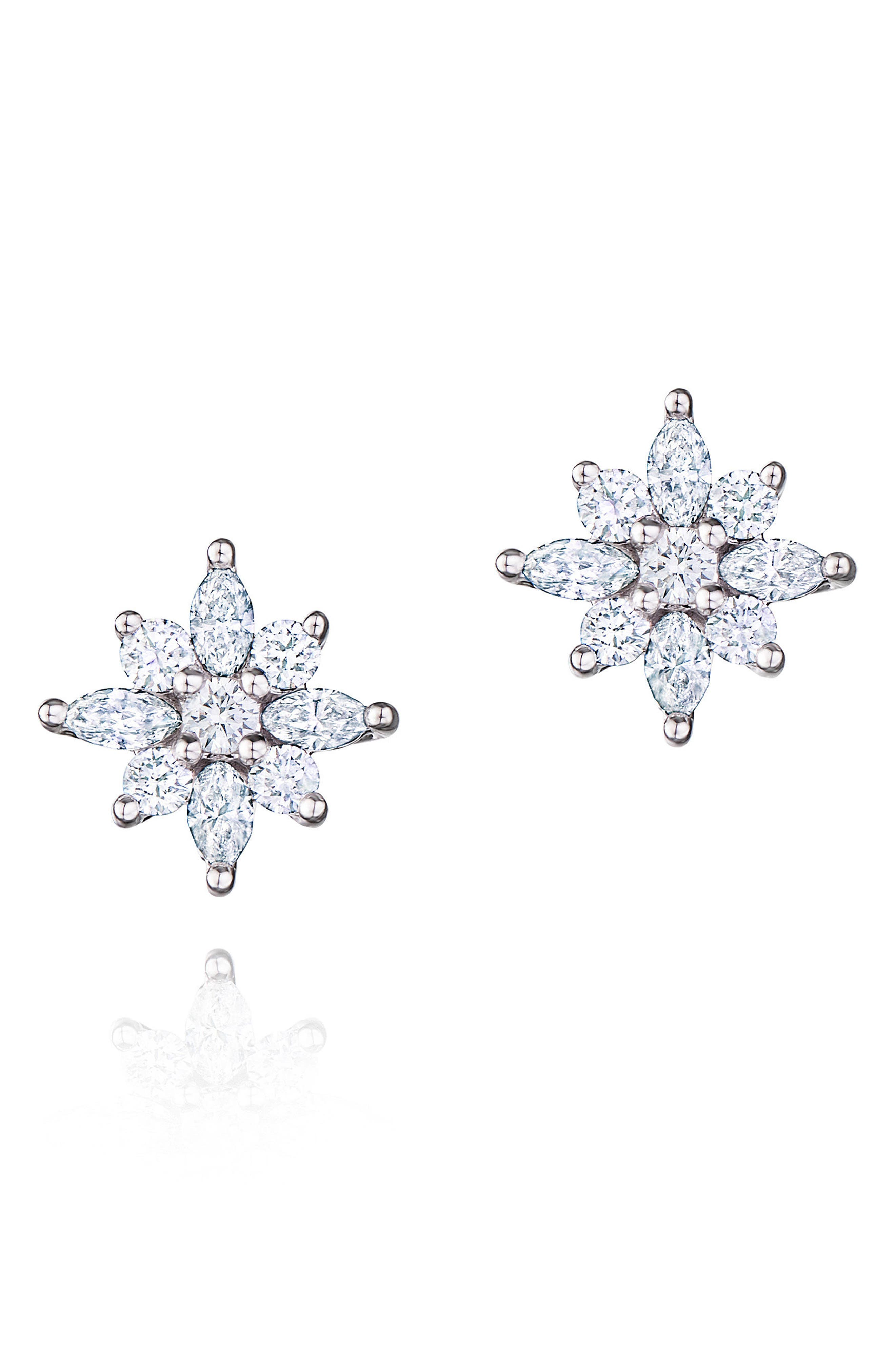 KWIAT .49ct tw Diamond Star Earrings, Main, color, WHITE GOLD