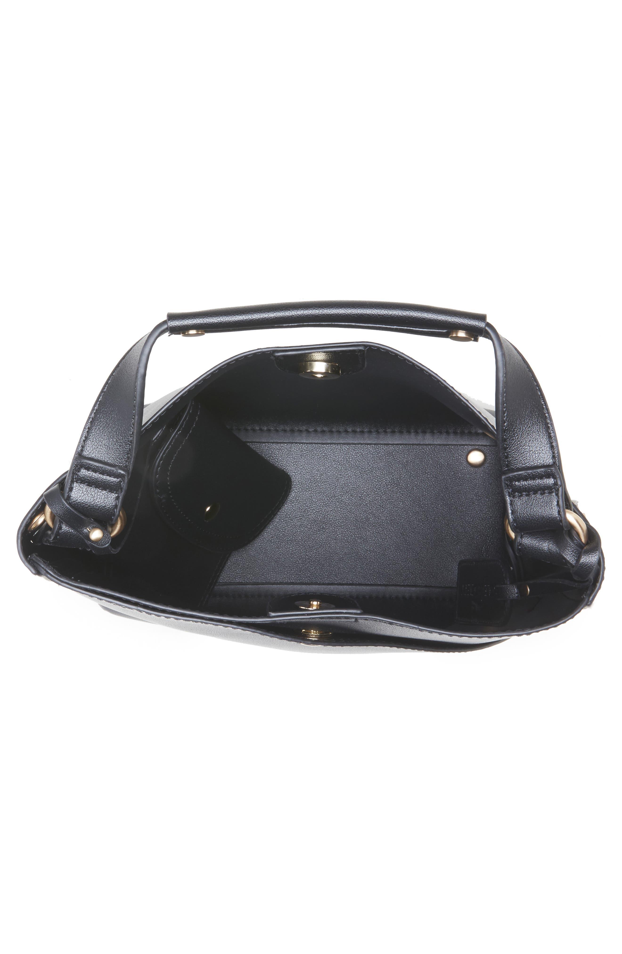 Hingi Faux Leather Shoulder Bag,                             Alternate thumbnail 3, color,                             BLACK