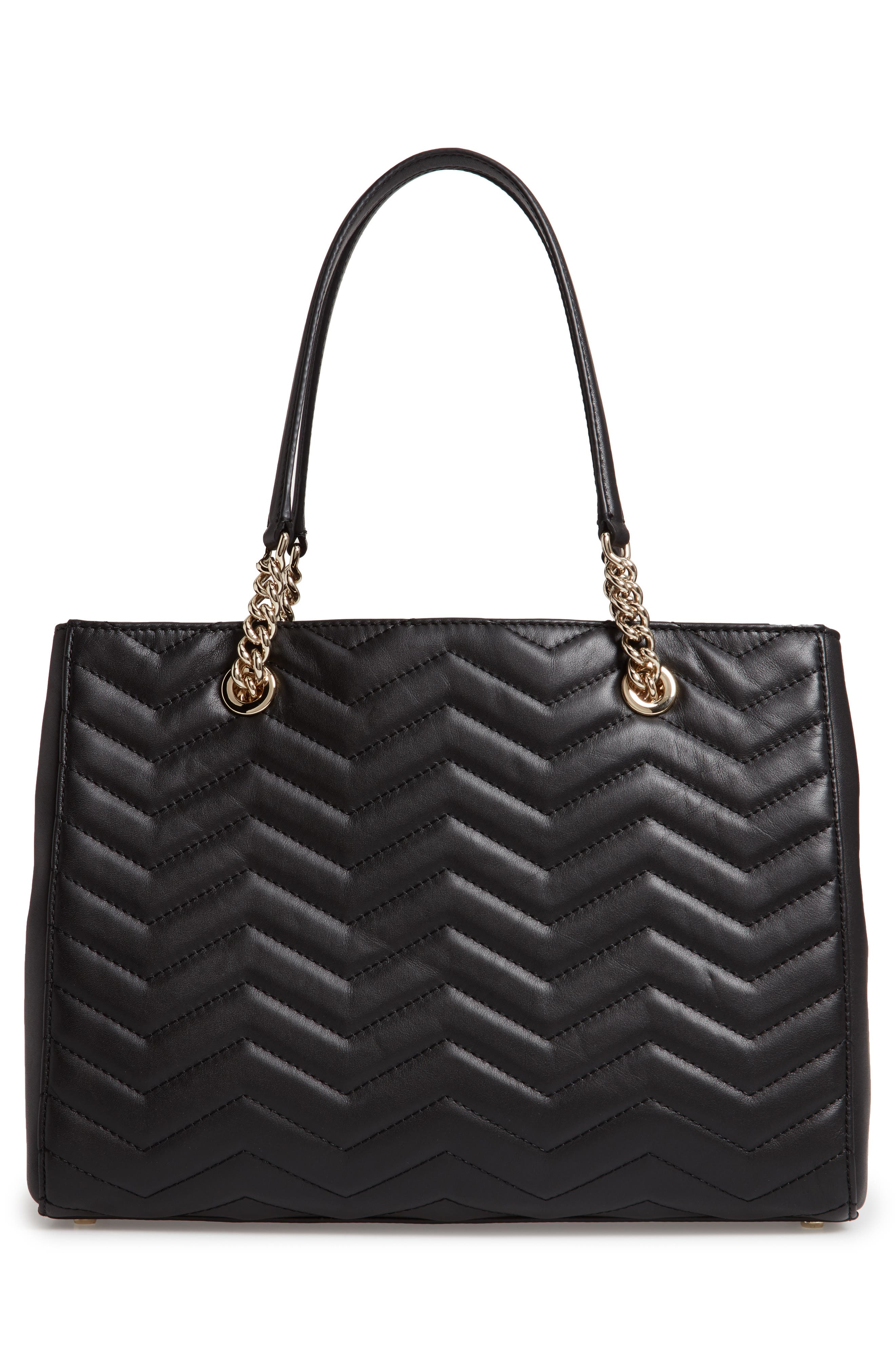 reese park courtnee leather tote,                             Alternate thumbnail 3, color,                             BLACK