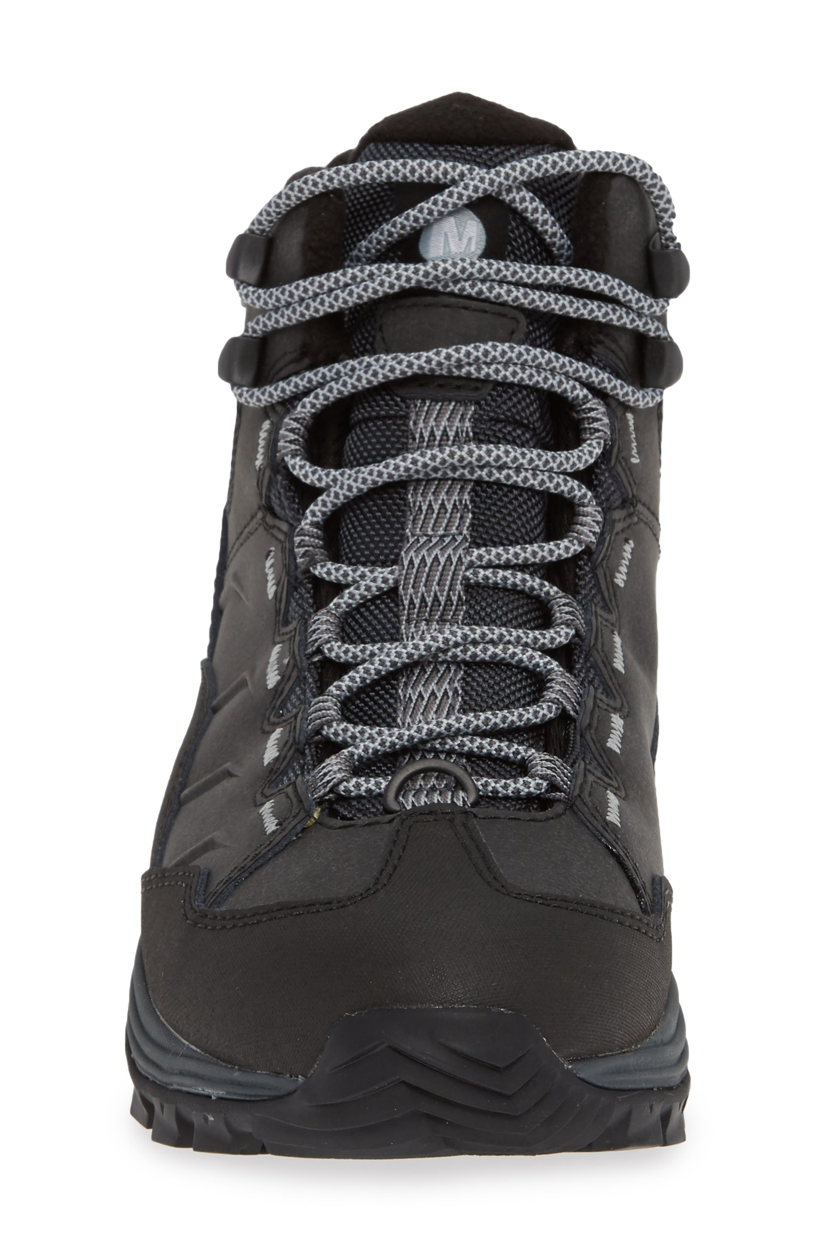 Thermo Chill Waterproof Snow Boot,                             Alternate thumbnail 4, color,                             BLACK LEATHER
