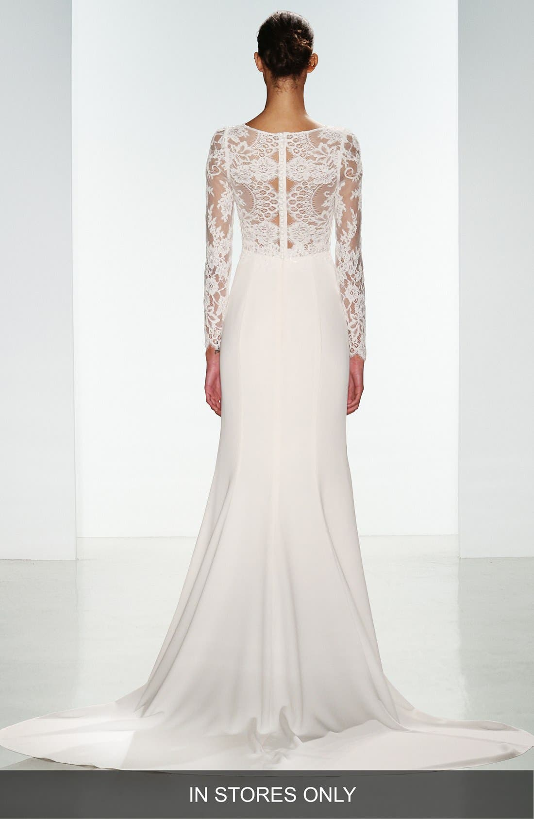 Noelle Long Sleeve Lace & Crepe Gown,                             Alternate thumbnail 5, color,                             IVORY