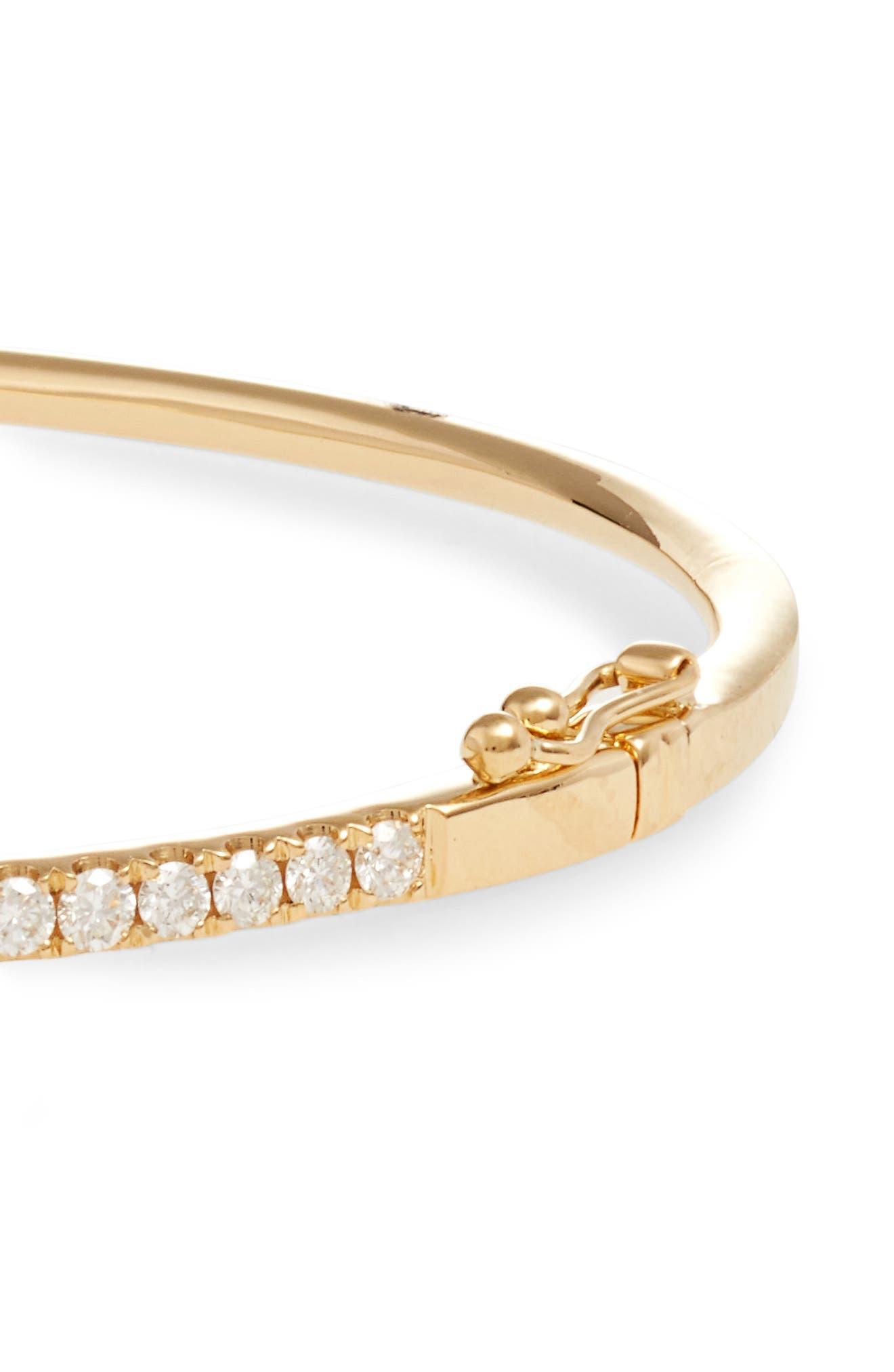 'Stackable' Large Skinny Diamond Bangle,                             Alternate thumbnail 4, color,                             YELLOW GOLD