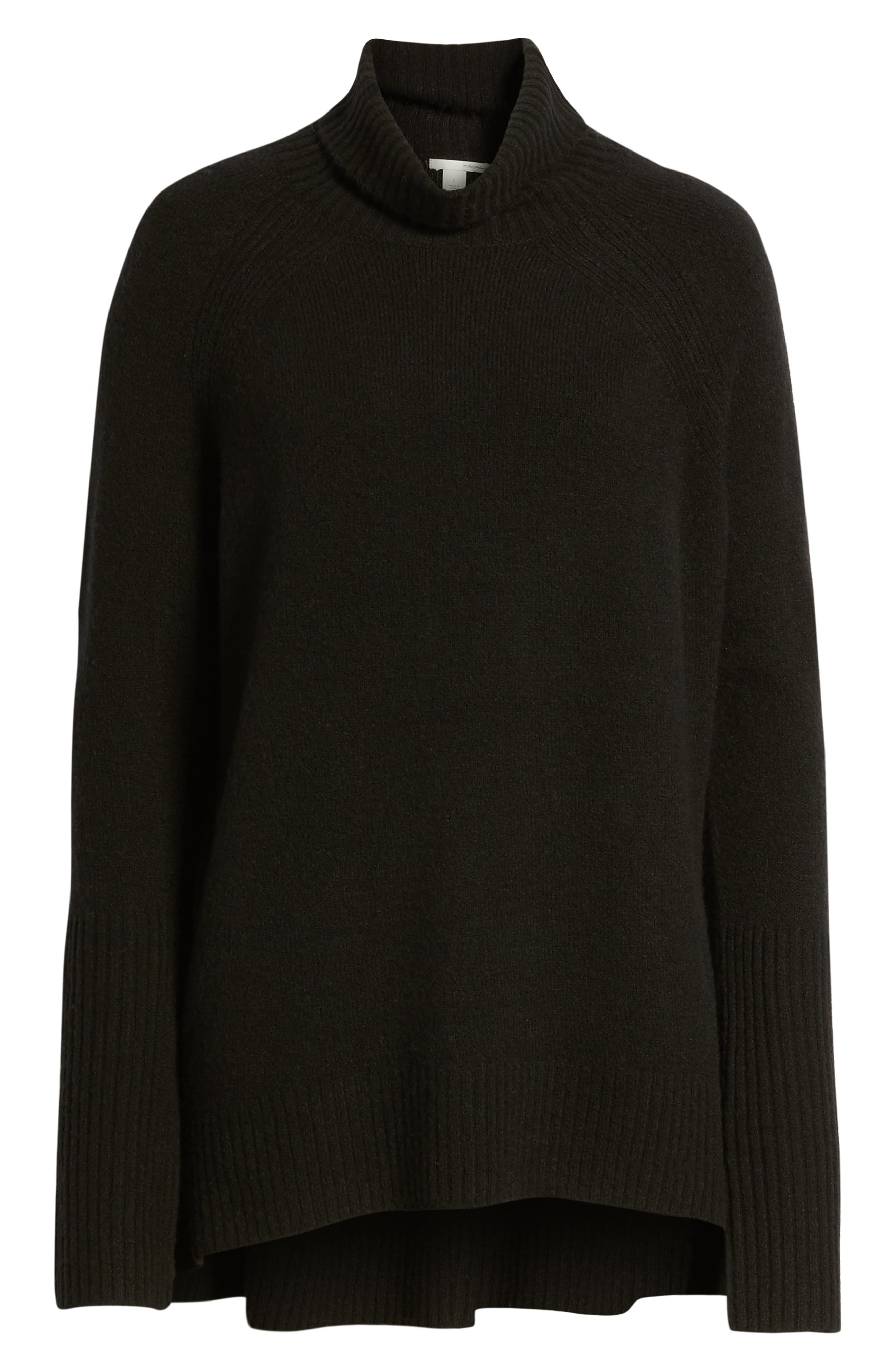 High Low Oversize Wool Blend Sweater,                             Alternate thumbnail 7, color,                             BLACK