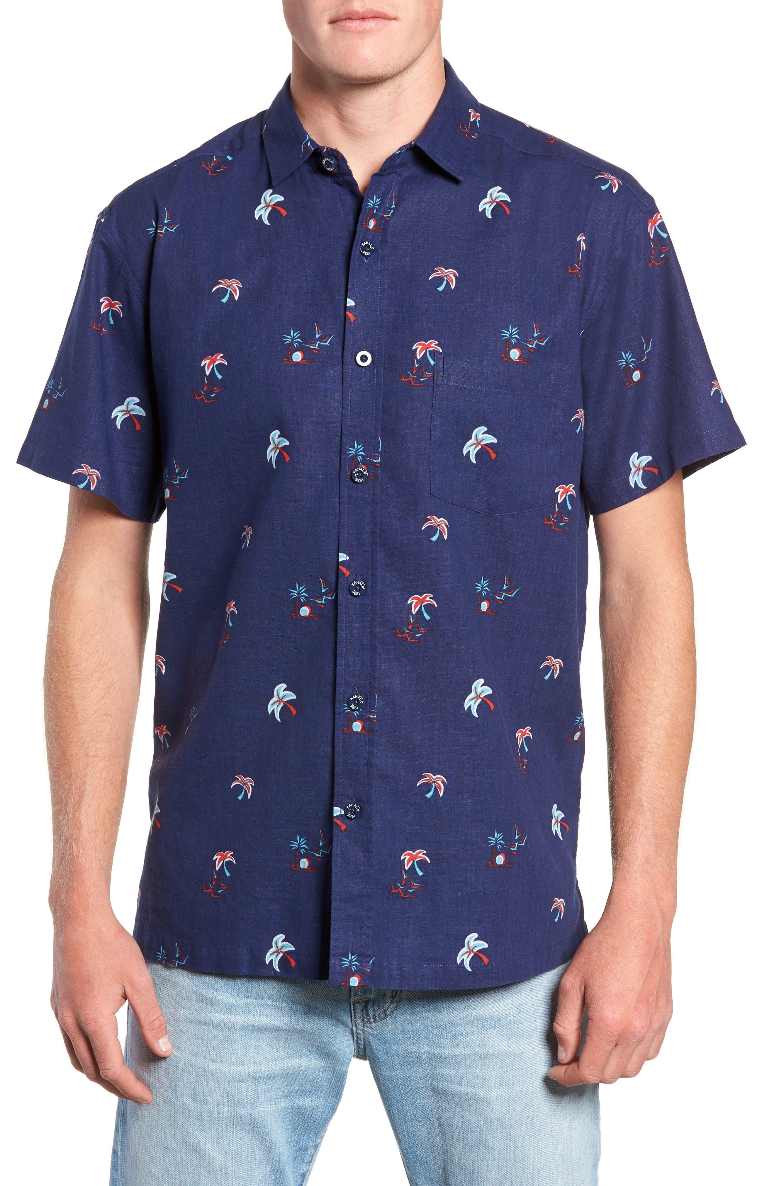 Setting Sun Classic Fit Sport Shirt,                         Main,                         color, NAVY