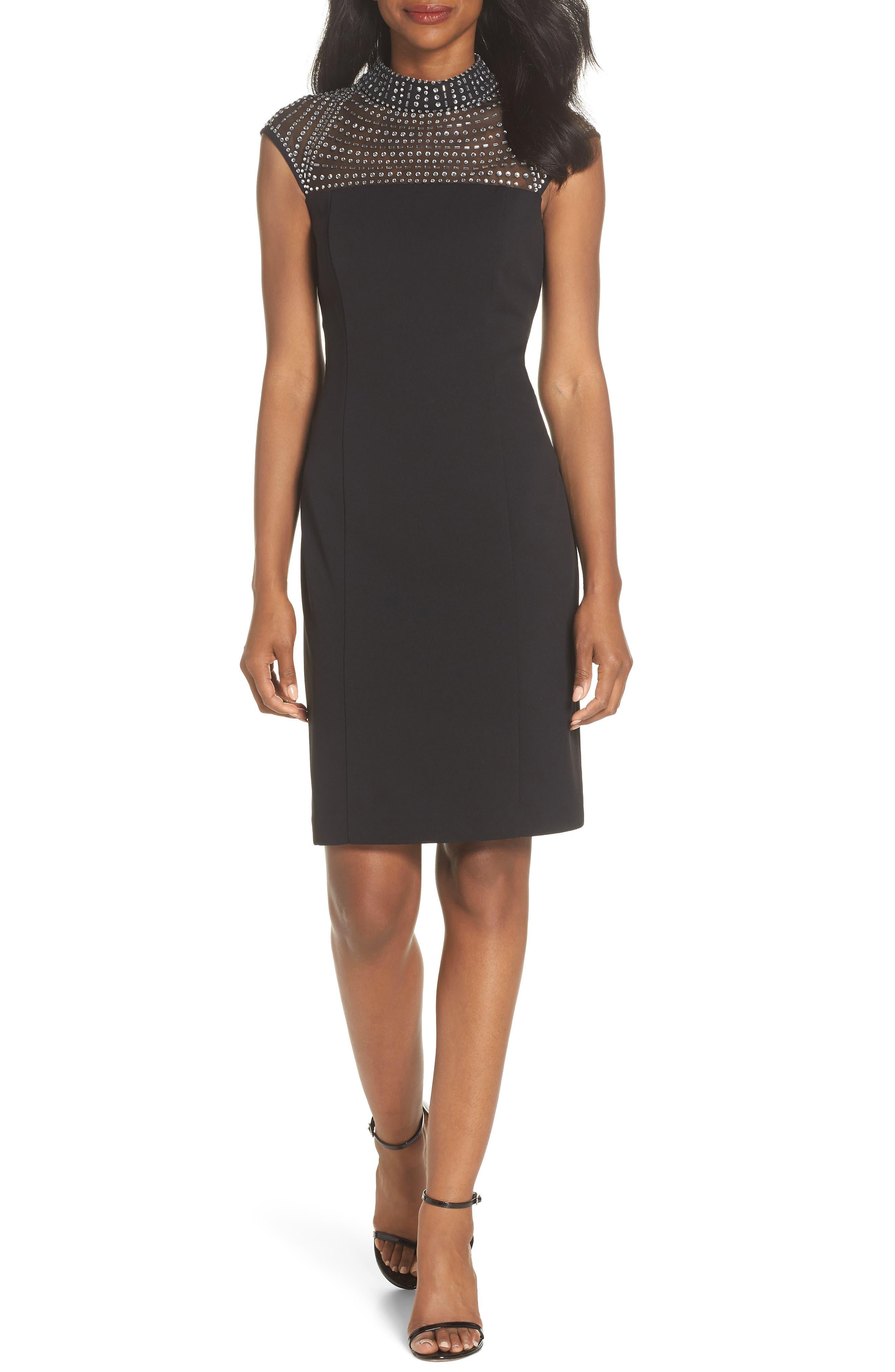 Crystal Yoke Sheath Dress,                             Main thumbnail 1, color,                             BLACK