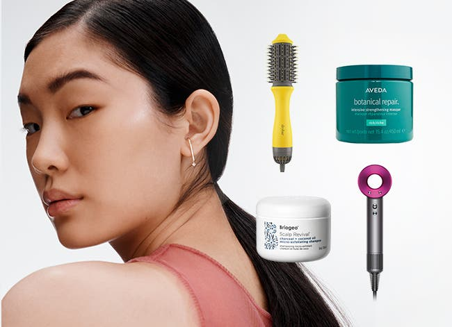 A woman with a smooth ponytail. Hair tools from Dyson and Drybar. Hair products from Aveda and Briogeo.
