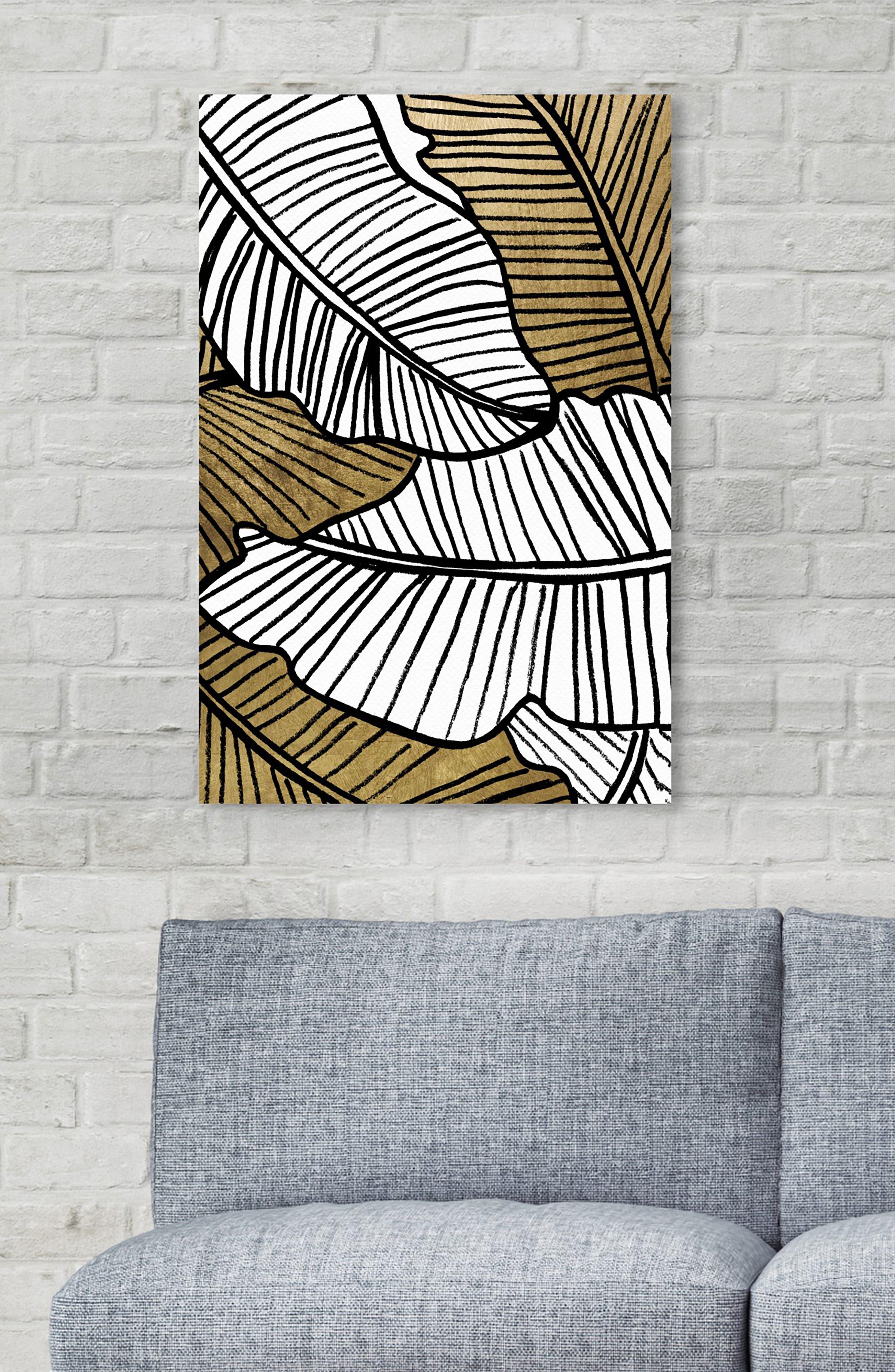 Golden Leaf Canvas Wall Art,                             Alternate thumbnail 5, color,                             BLACK WHITE GOLD