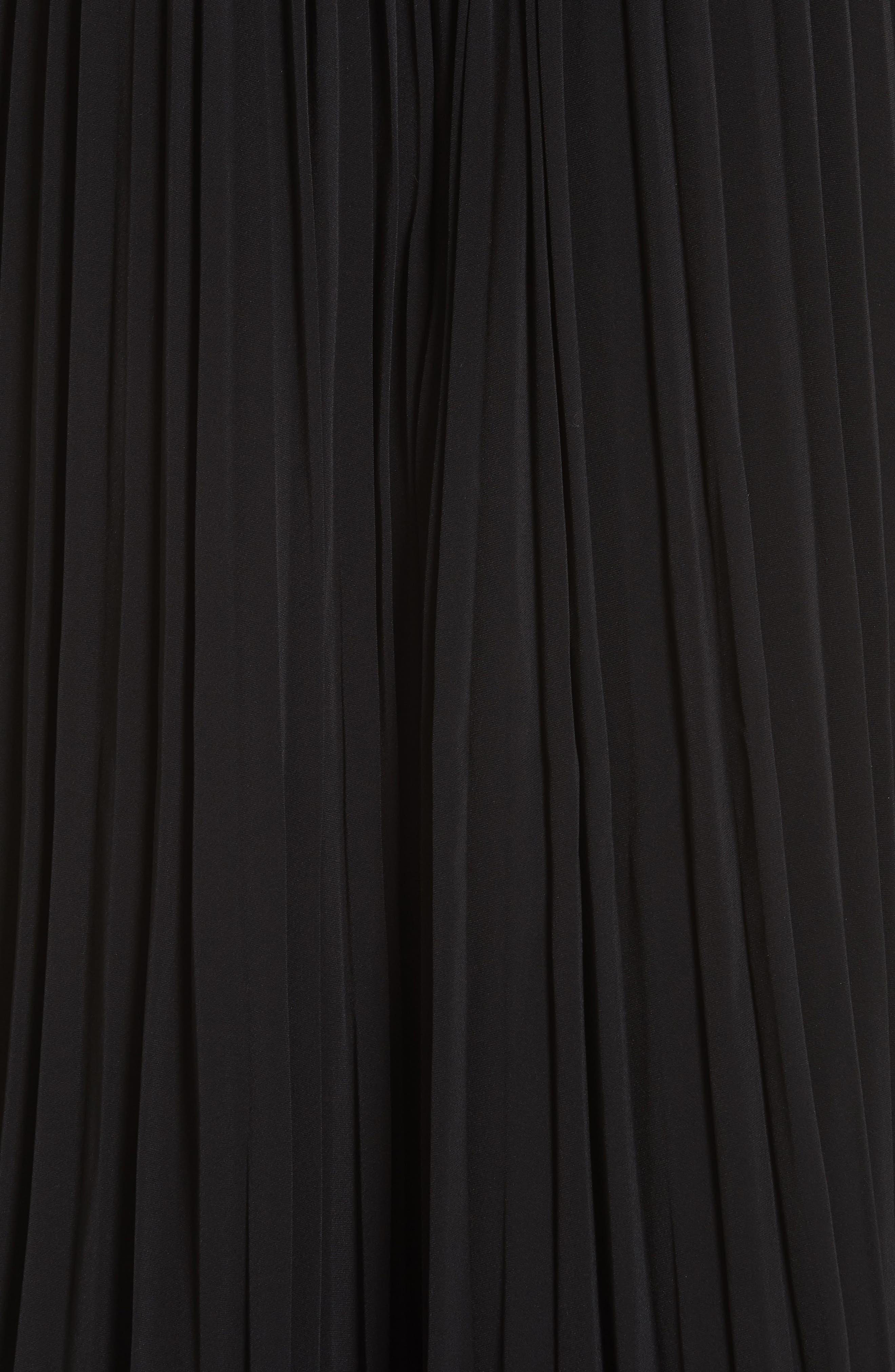 Essentials Pleated Midi Skirt,                             Alternate thumbnail 5, color,                             BLACK
