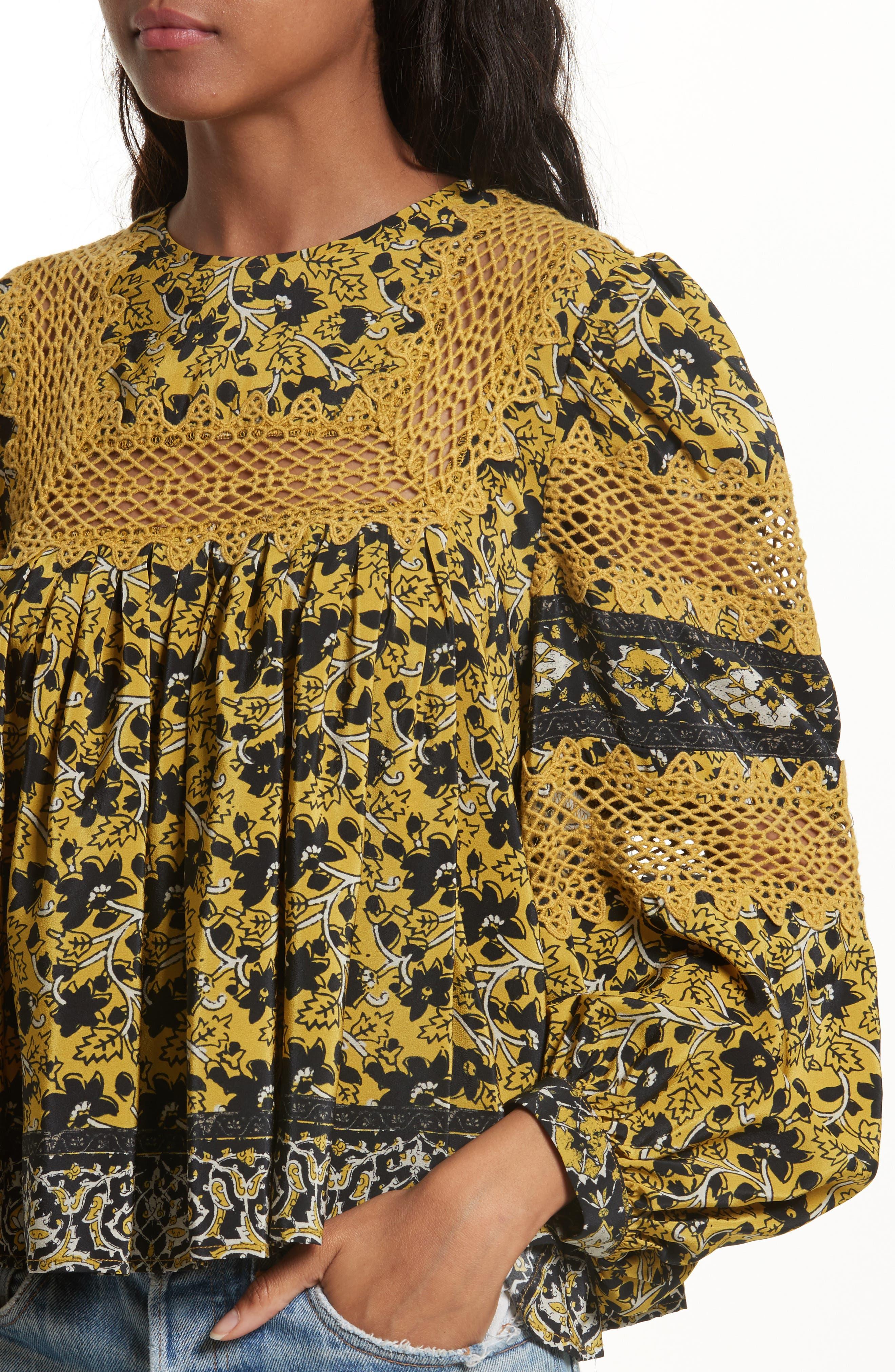 Lace Bib Print Silk Blouse,                             Alternate thumbnail 4, color,                             700