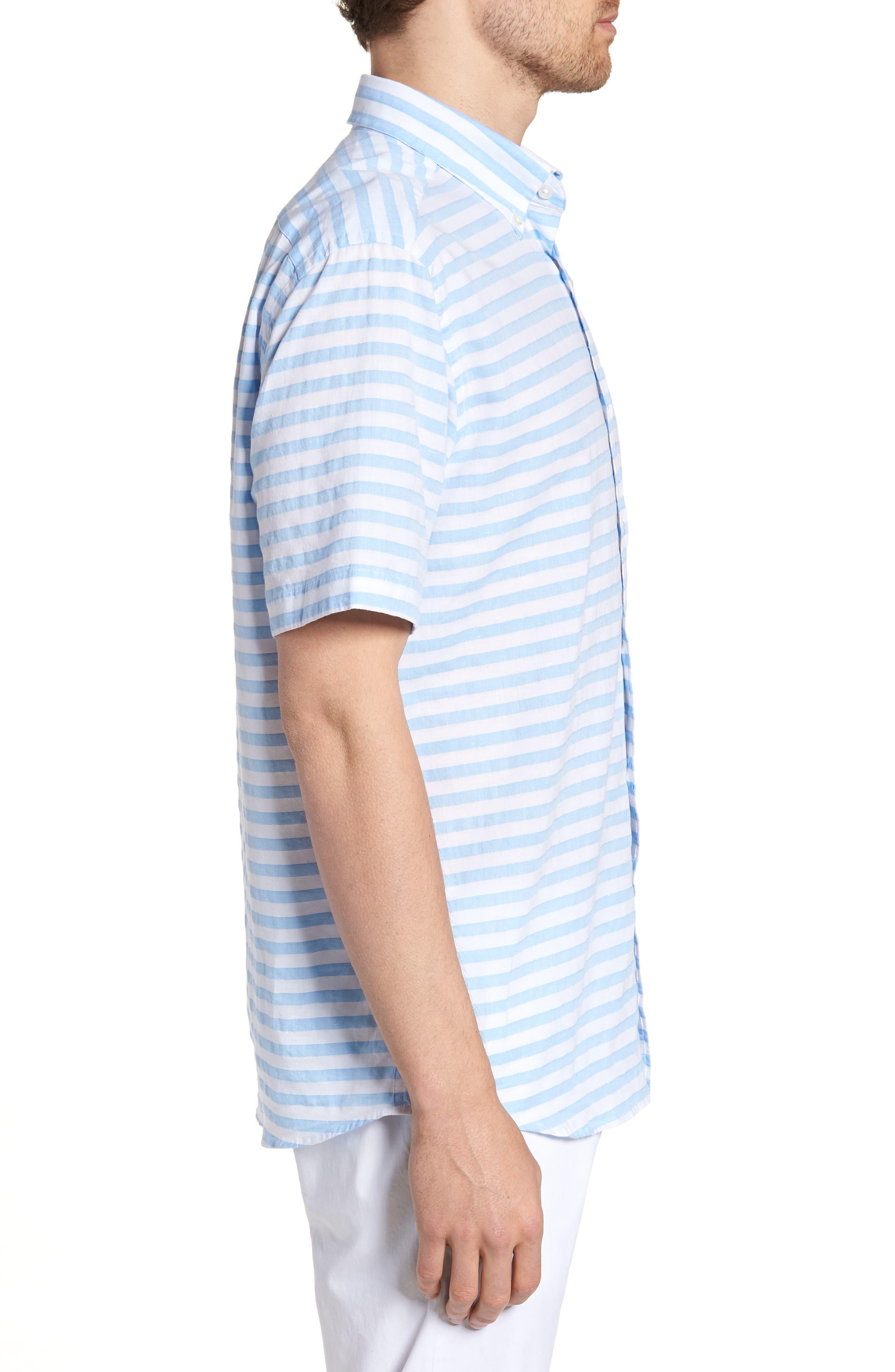 Toe Side Stripe Short Sleeve Sport Shirt,                             Alternate thumbnail 3, color,                             392
