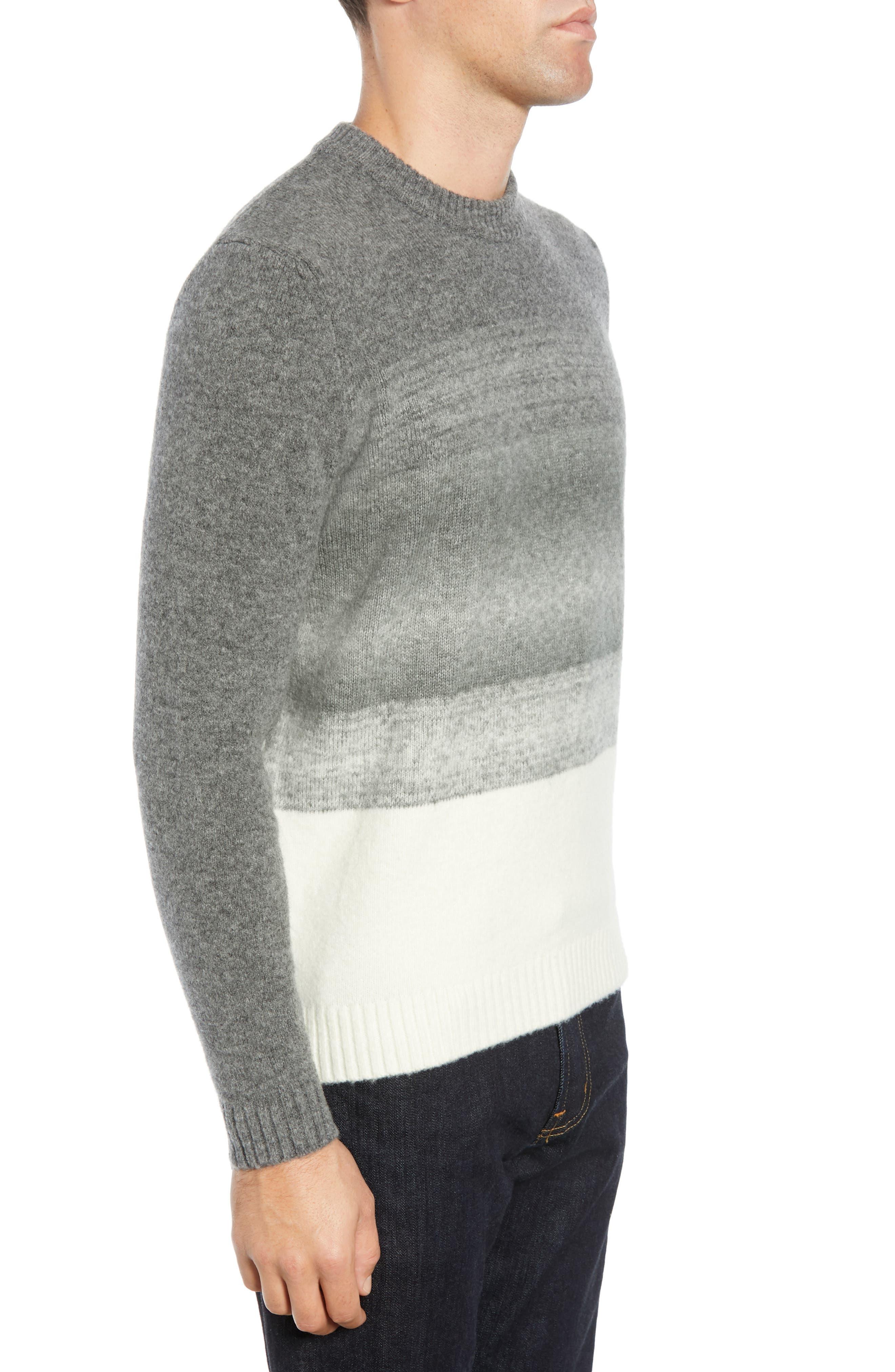 Ecardo Dégradé Virgin Wool Blend Sweater,                             Alternate thumbnail 3, color,                             GREY