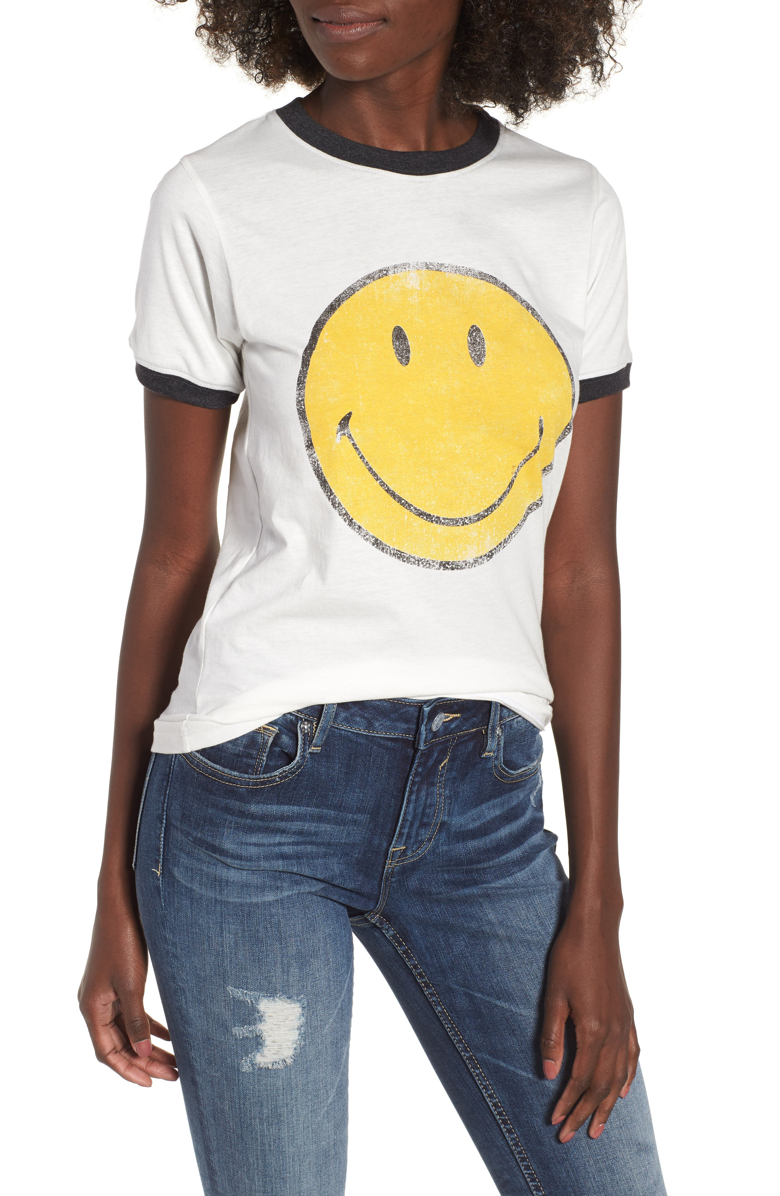 Smiley Ringer Tee,                             Main thumbnail 1, color,                             901