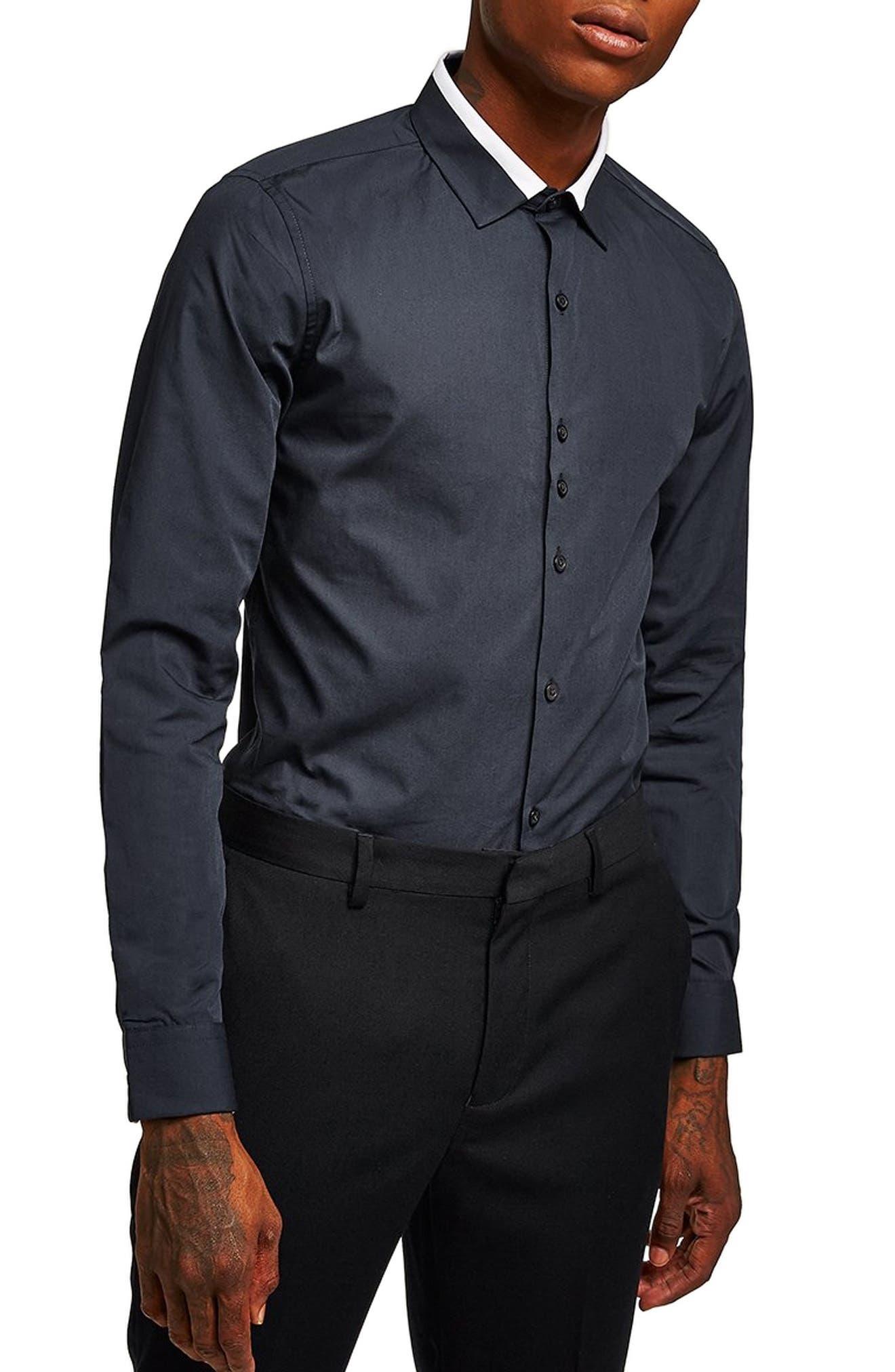Slim Fit Panel Collar Shirt,                         Main,                         color, 411