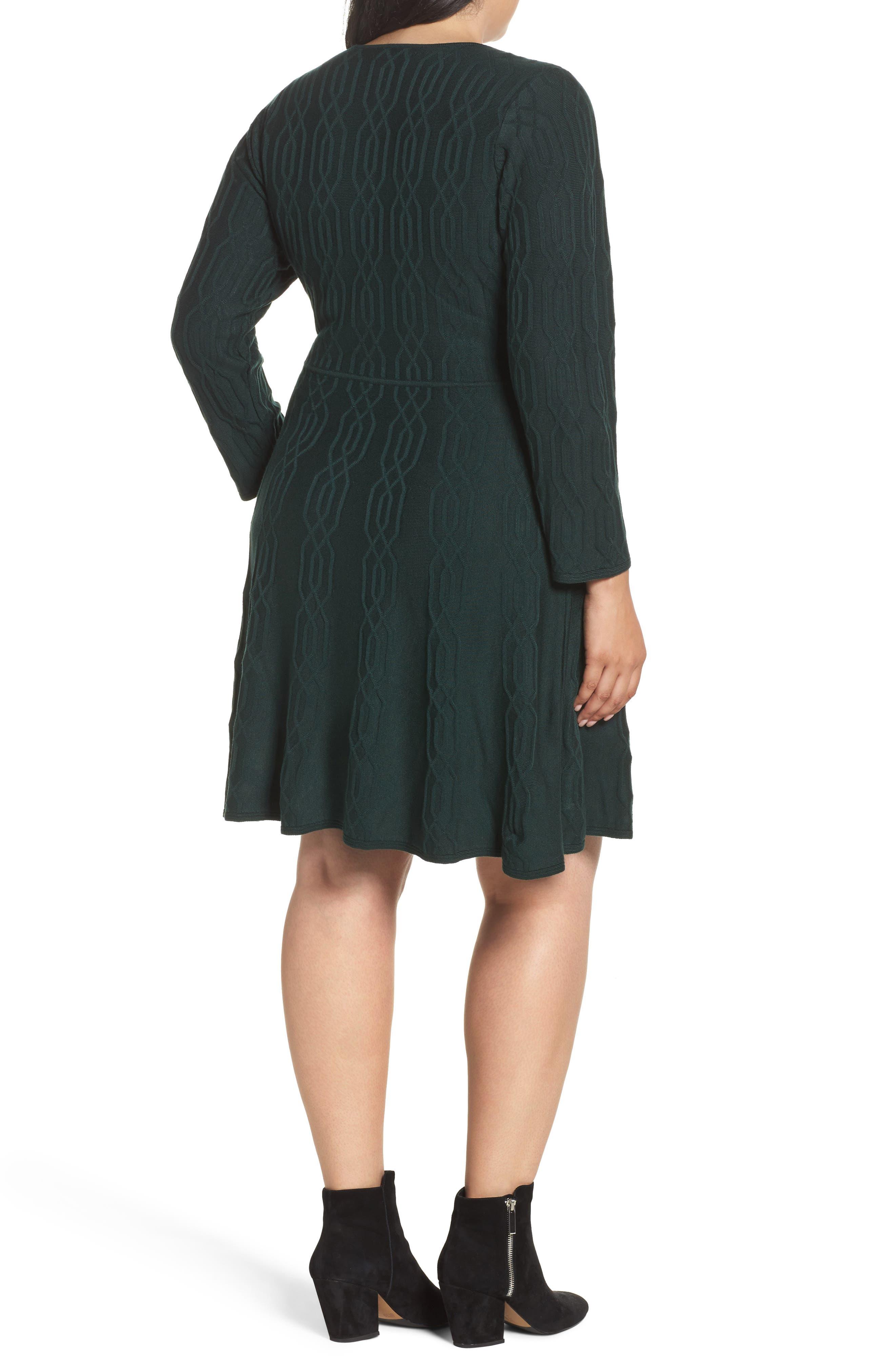 ELIZA J,                             Jacquard Knit Fit & Flare Dress,                             Alternate thumbnail 2, color,                             310