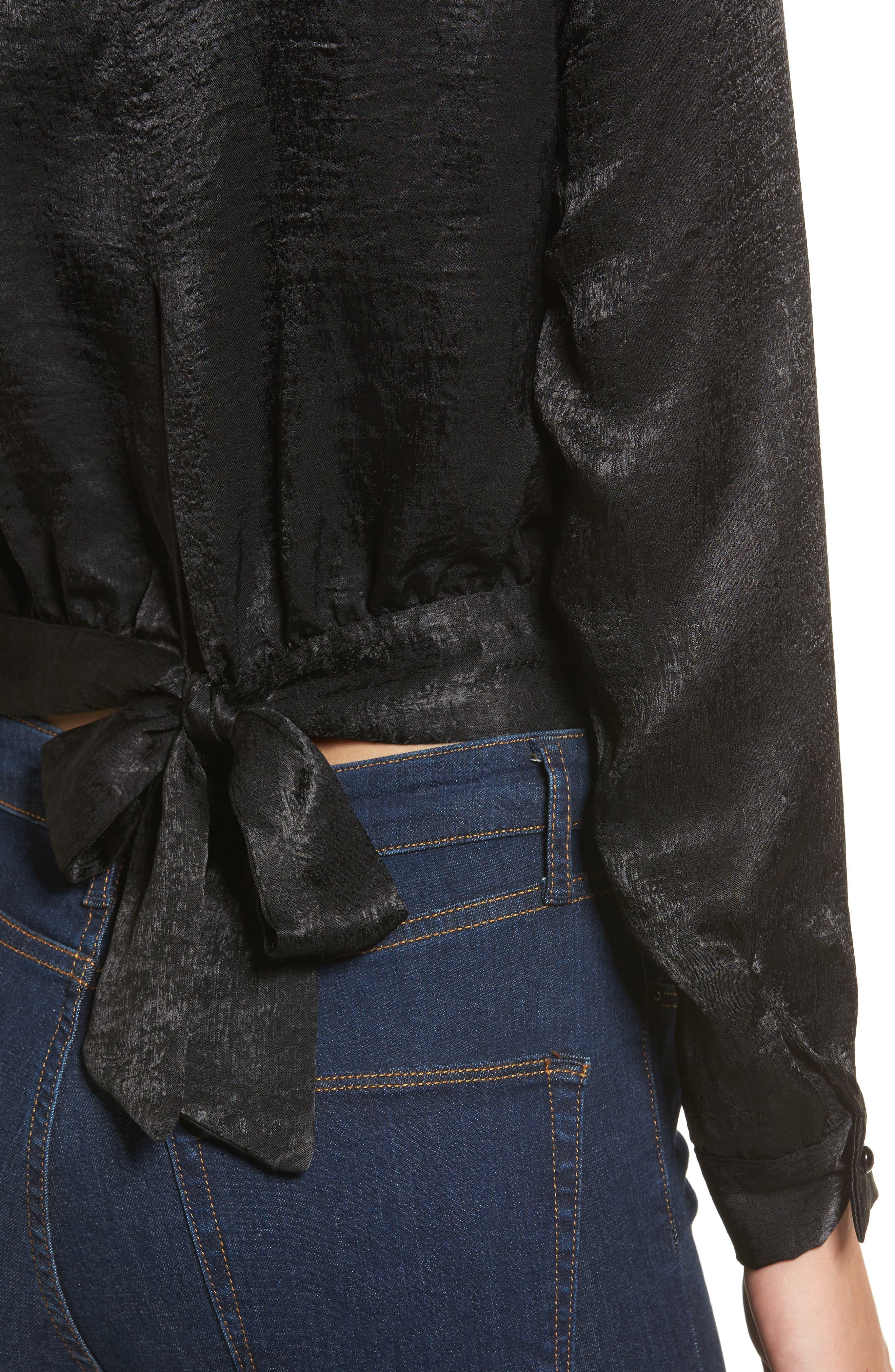 Sateen Tie Back Blouse,                             Alternate thumbnail 4, color,                             001
