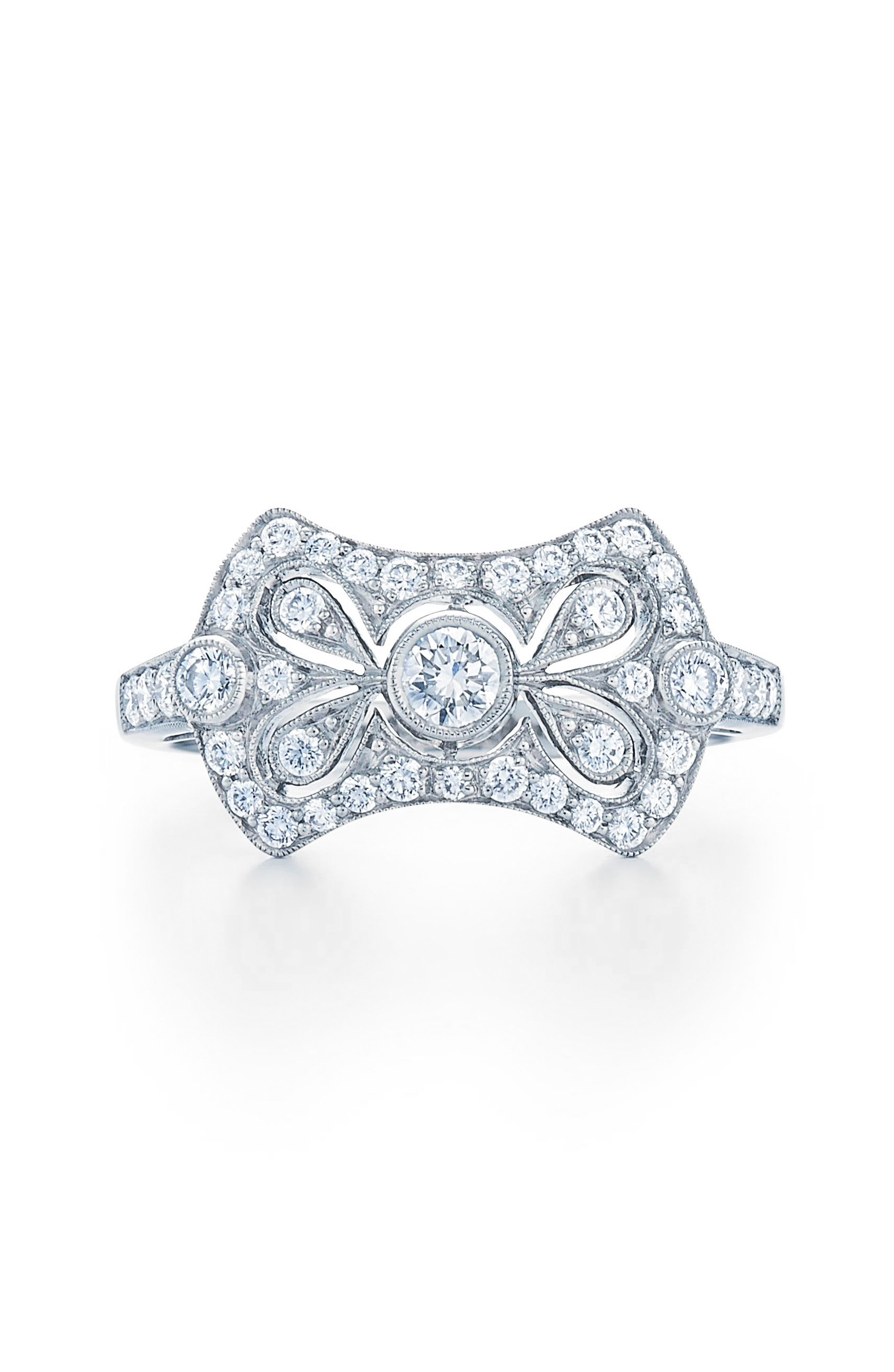 Vintage Bow Diamond Ring,                             Alternate thumbnail 2, color,                             WHITE GOLD