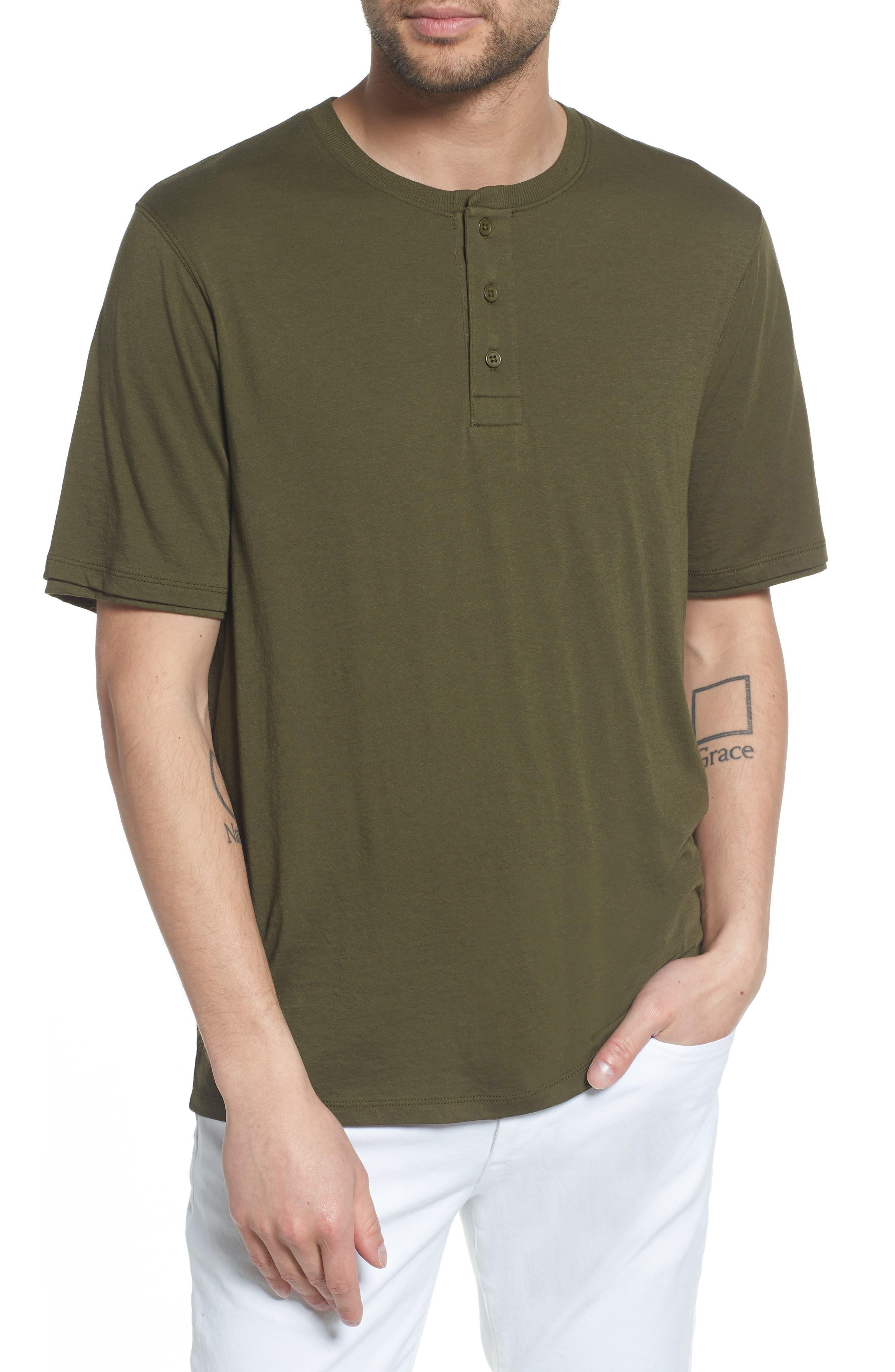 Layered Henley T-Shirt,                             Main thumbnail 1, color,                             FOLIAGE